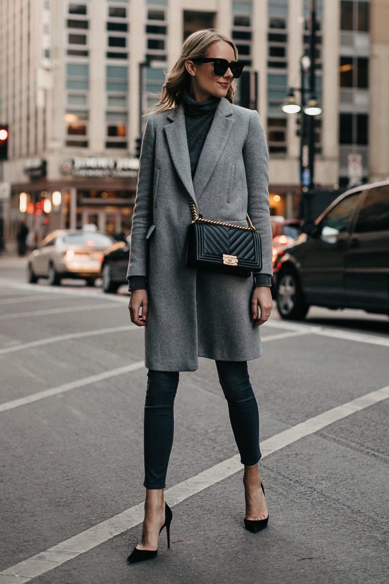 Blonde Woman Wearing Zara Grey Wool Coat Grey Turtleneck Sweater Grey Skinny Jeans Black Pumps Chanel Black Boy Bag Fashion Jackson Fashion Blogger Street Style