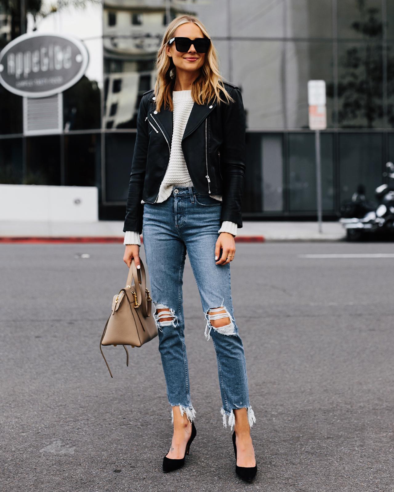 Fashion Jackson Wearing Black Leather Jacket White Sweater Paige Hoxton Ankle Jeans
