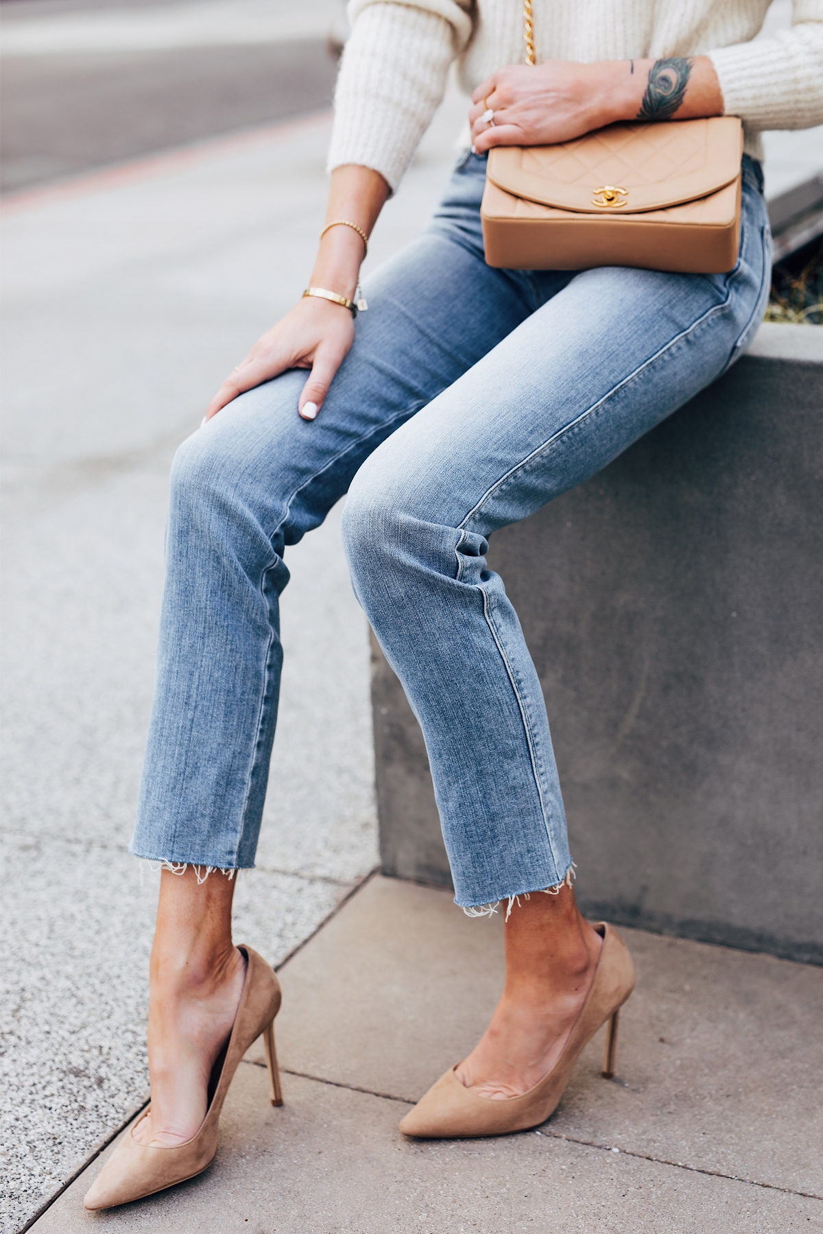 Fashion Jackson Frame Raw Hem Straight Leg Jeans Jimmy Choo Romy Nude Pumps Chanel Tan Diana Bag