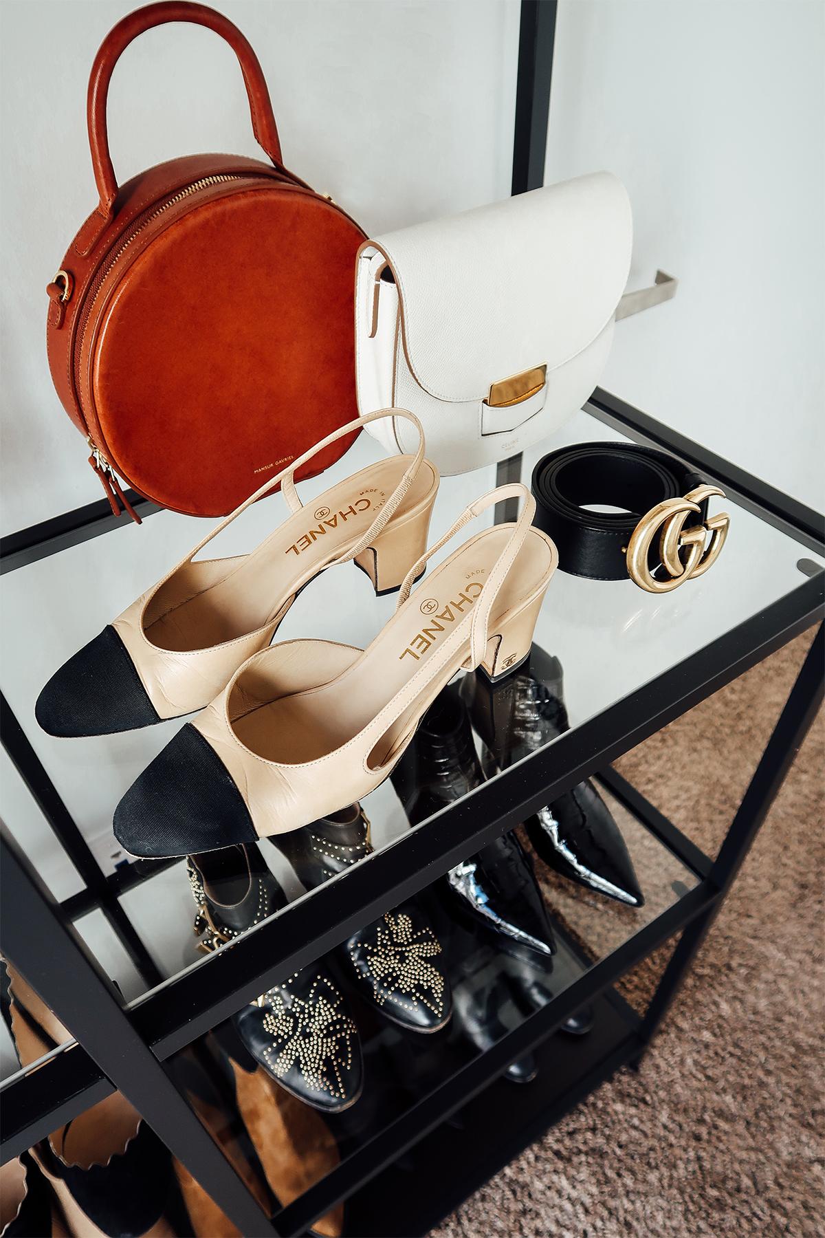 Fashion Jackson Handbag Shoe Collection Chanel Slingbacks Gucci Belt Mansur Gavriel Circle Handbag Celine White Trotteur Handbag