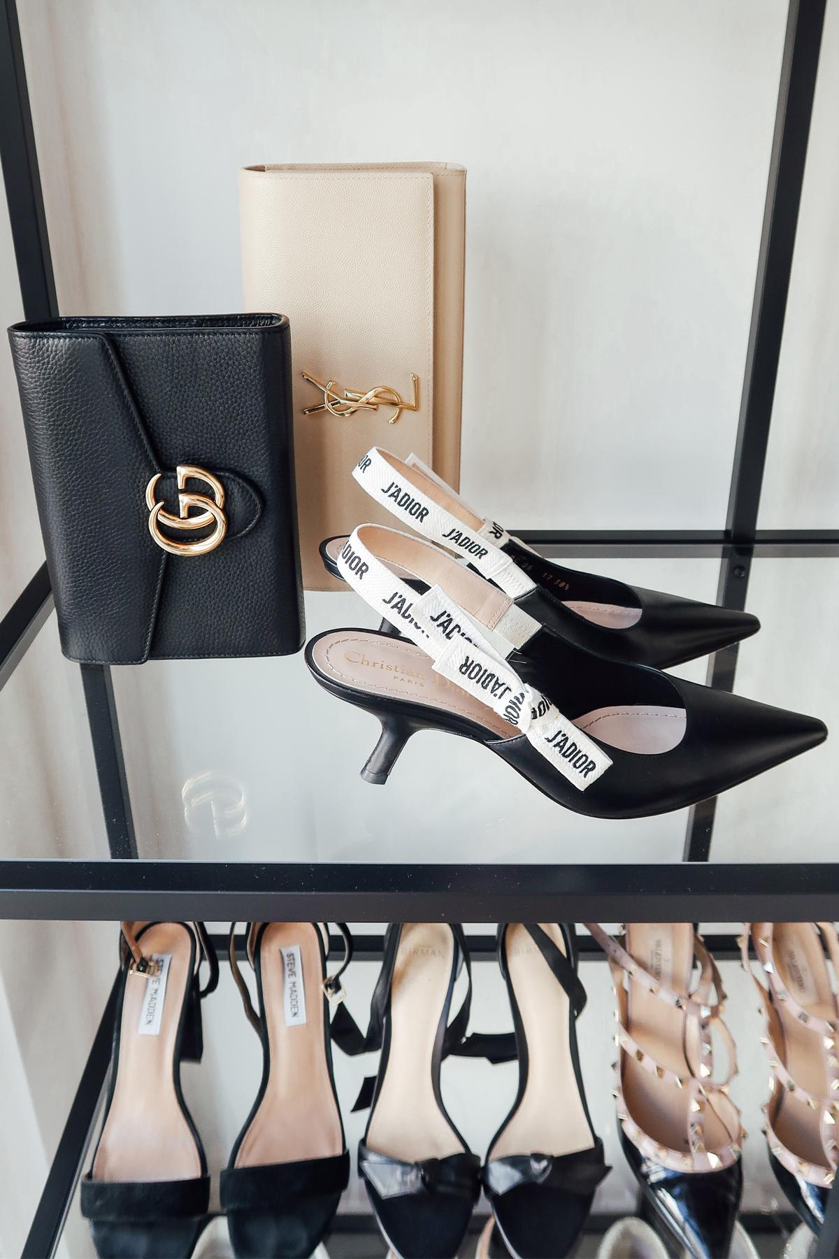 Fashion Jackson Handbag Shoe Collection Dior Jadior Slingbacks Gucci Black Clutch YSL Nude Clutch