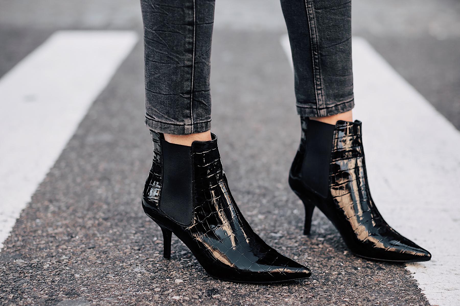 Woman Wearing Anine Bing Grey Jeans Anine Bing Stevie Booties Black Croc Booties Fashion Jackson Fashion Blogger NYFW Street Style