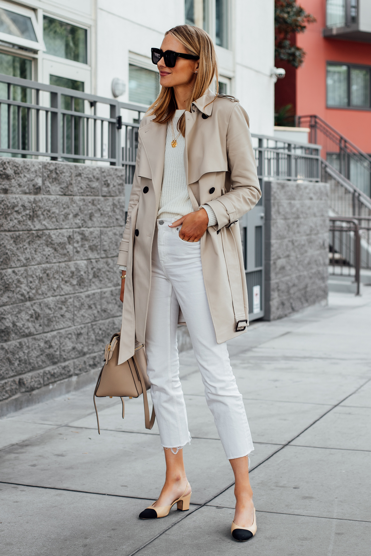 Blonde Woman Wearing Club Monaco Trench Coat White Sweater Everlane White Cropped Jeans Chanel Slingback Shoes Fashion Jackson San Diego Fashion Blogger Street Style