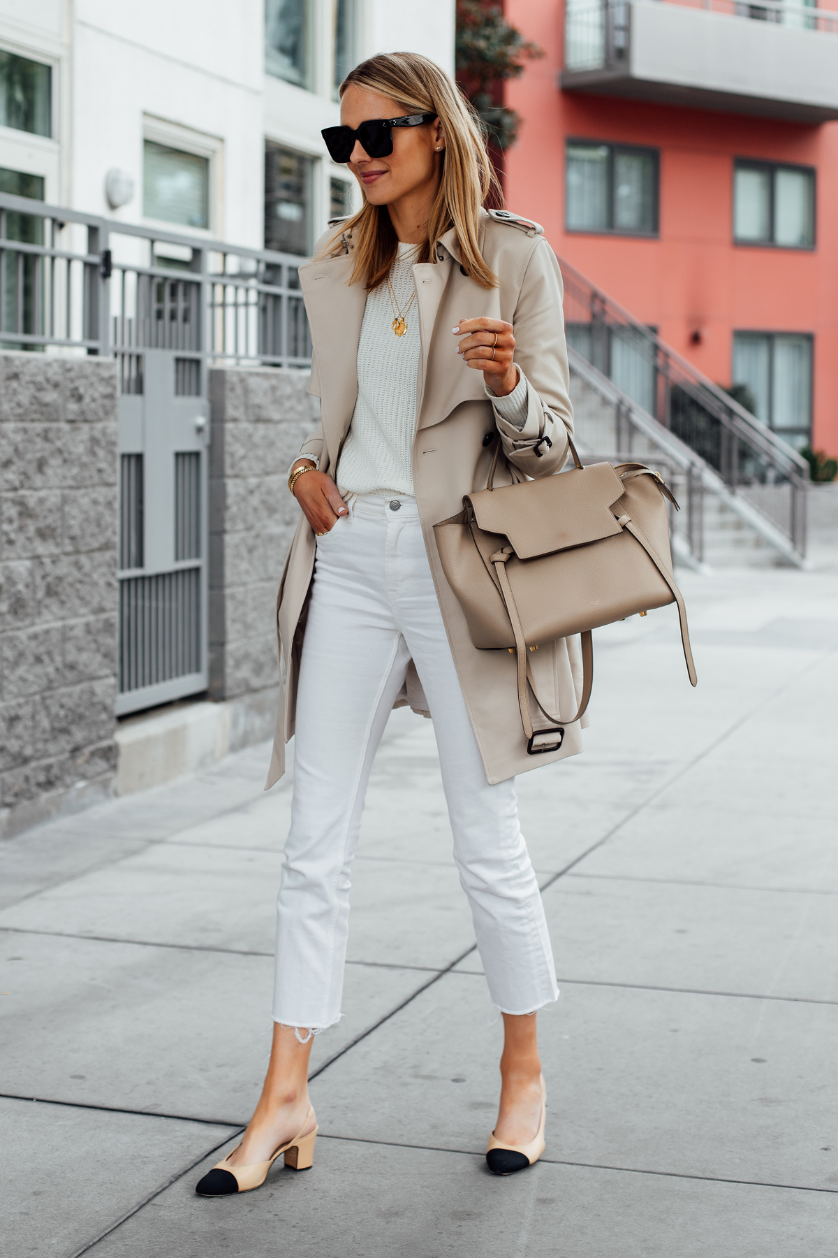 Blonde Woman Wearing Wearing Club Monaco Trench Coat White Sweater Everlane White Cropped Jeans Chanel Slingback Shoes Celine Mini Belt Bag Fashion Jackson San Diego Fashion Blogger Street Style