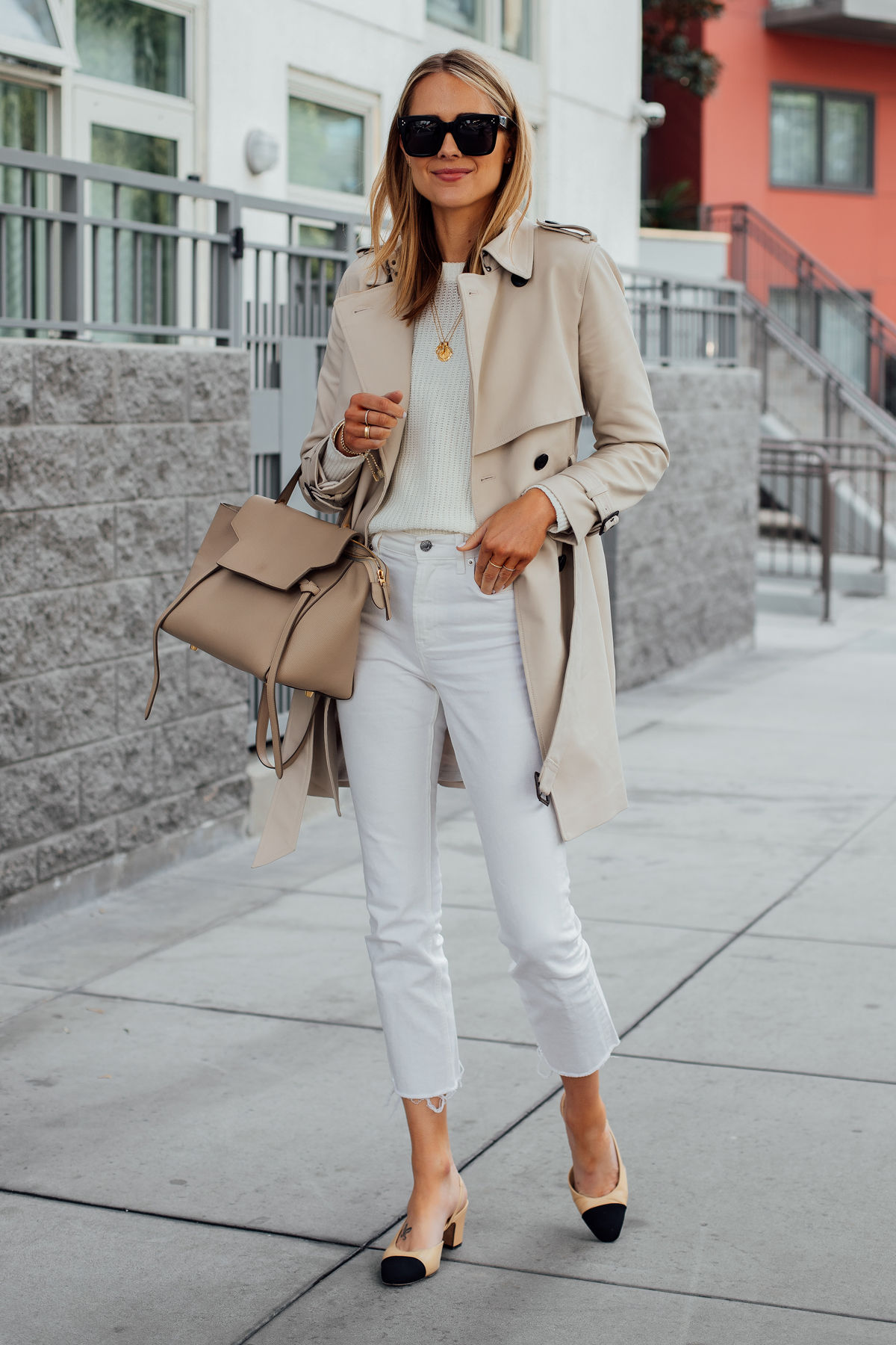 Blonde Woman Wearing Club Monaco Trench Coat White Sweater Everlane White Cropped Jeans Chanel Slingback Shoes Celine Mini Belt Bag Fashion Jackson San Diego Fashion Blogger Street Style