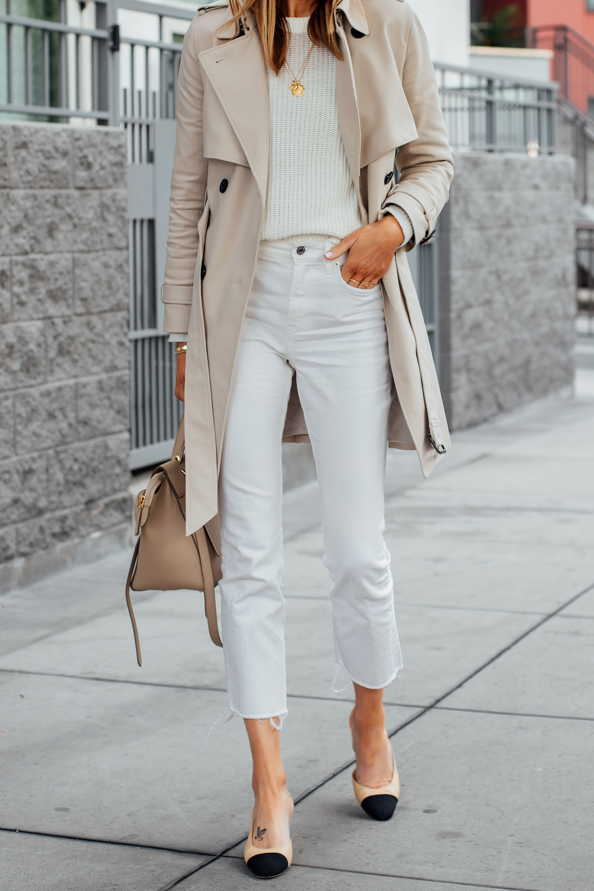 Woman Wearing Club Monaco Trench Coat White Sweater Everlane White Cropped Jeans Chanel Slingback Shoes Fashion Jackson San Diego Fashion Blogger Street Style