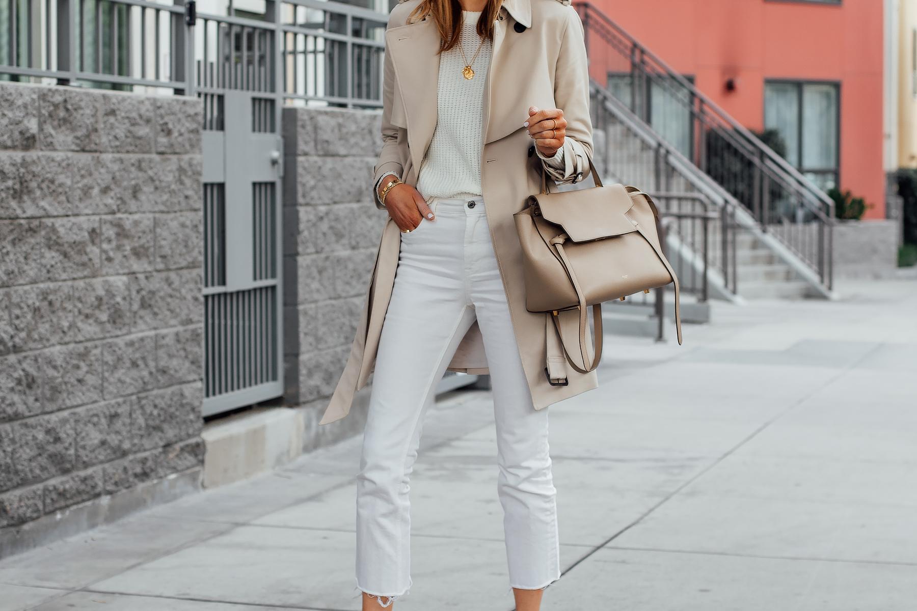 Blonde Wearing Club Monaco Trench Coat White Sweater White Cropped Jeans Celine Mini Belt Bag Fashion Jackson San Diego Fashion Blogger Street Style