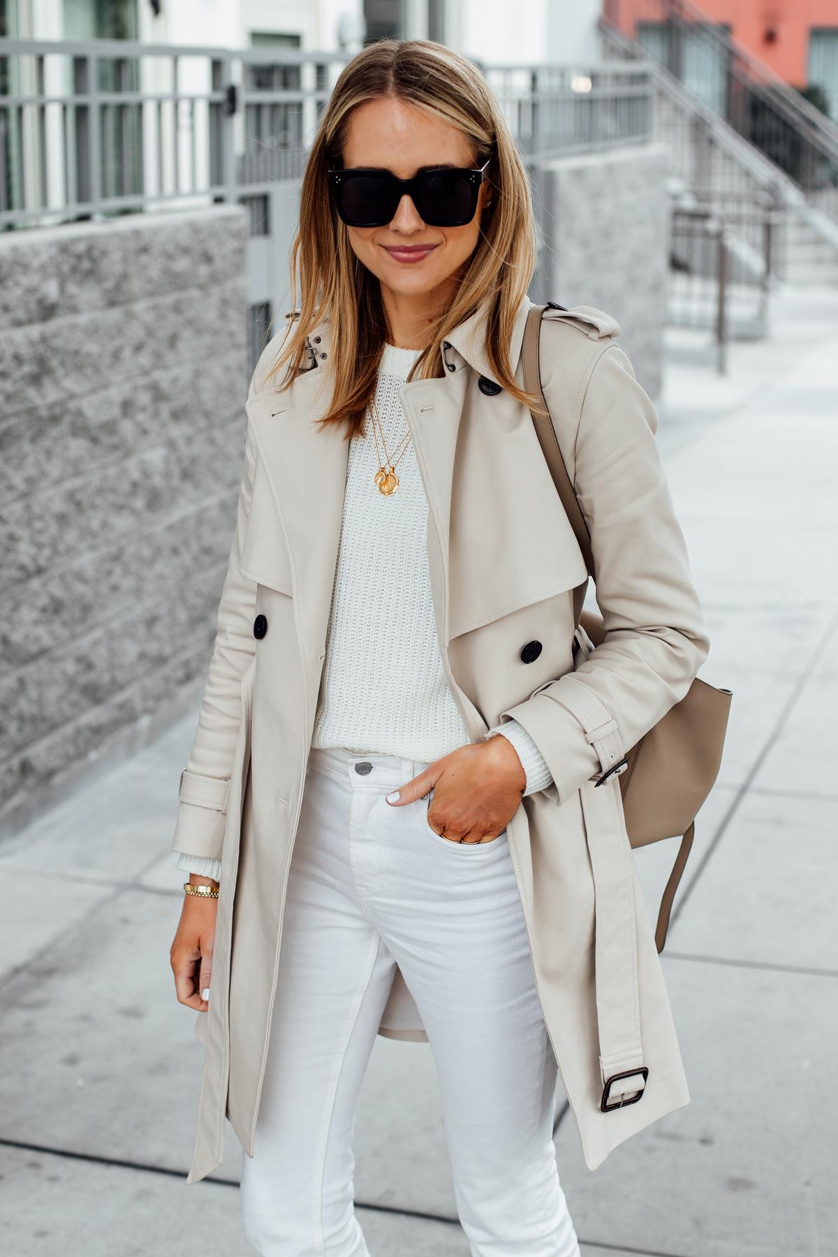 Blonde Woman Wearing Club Monaco Trench Coat White Sweater White Jeans Celine Mini Belt Bag Fashion Jackson San Diego Fashion Blogger Street Style