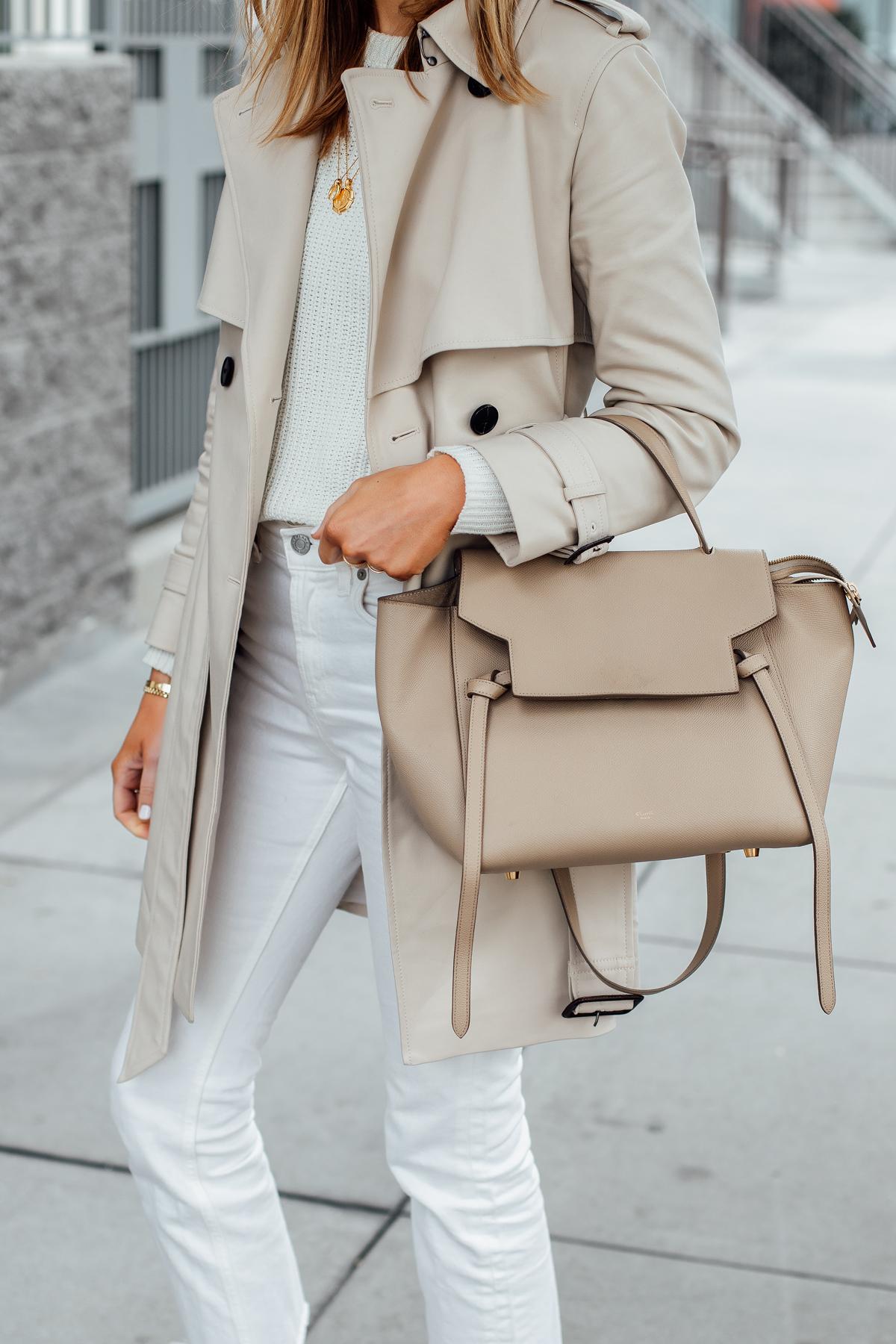 Woman Wearing Club Monaco Trench Coat White Sweater White Jeans Celine Mini Belt Bag Fashion Jackson San Diego Fashion Blogger Street Style