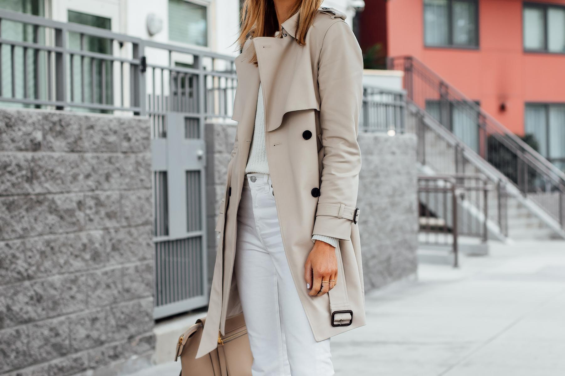 Blonde Woman Wearing Club Monaco Trench Coat White Sweater White Jeans Fashion Jackson San Diego Fashion Blogger Street Style