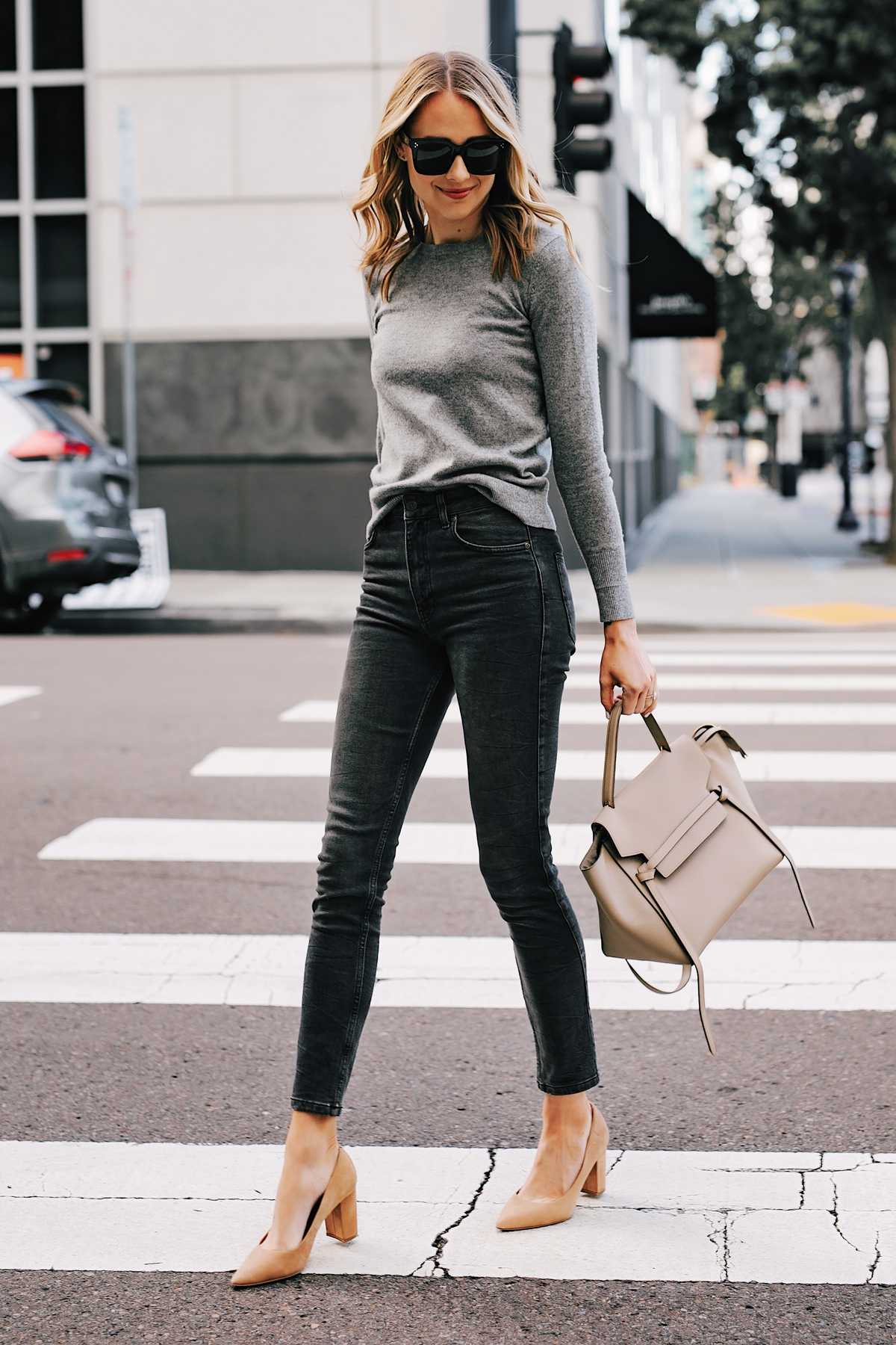 Fashion Jackson Wearing Everlane Grey Cashmere Sweater Anine Bing Grey Jagger Jeans Tan Pumps Celine Mini Belt Bag Taupe