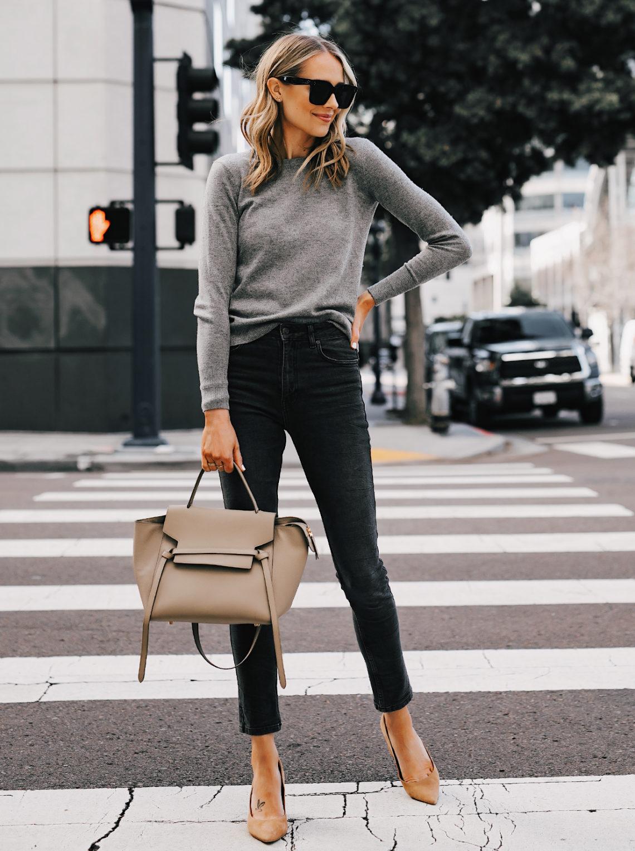 Fashion Jackson Wearing Everlane Grey Cashmere Sweater Anine Bing Grey Jagger Jeans Tan Pumps Celine Mini Belt Bag Taupe