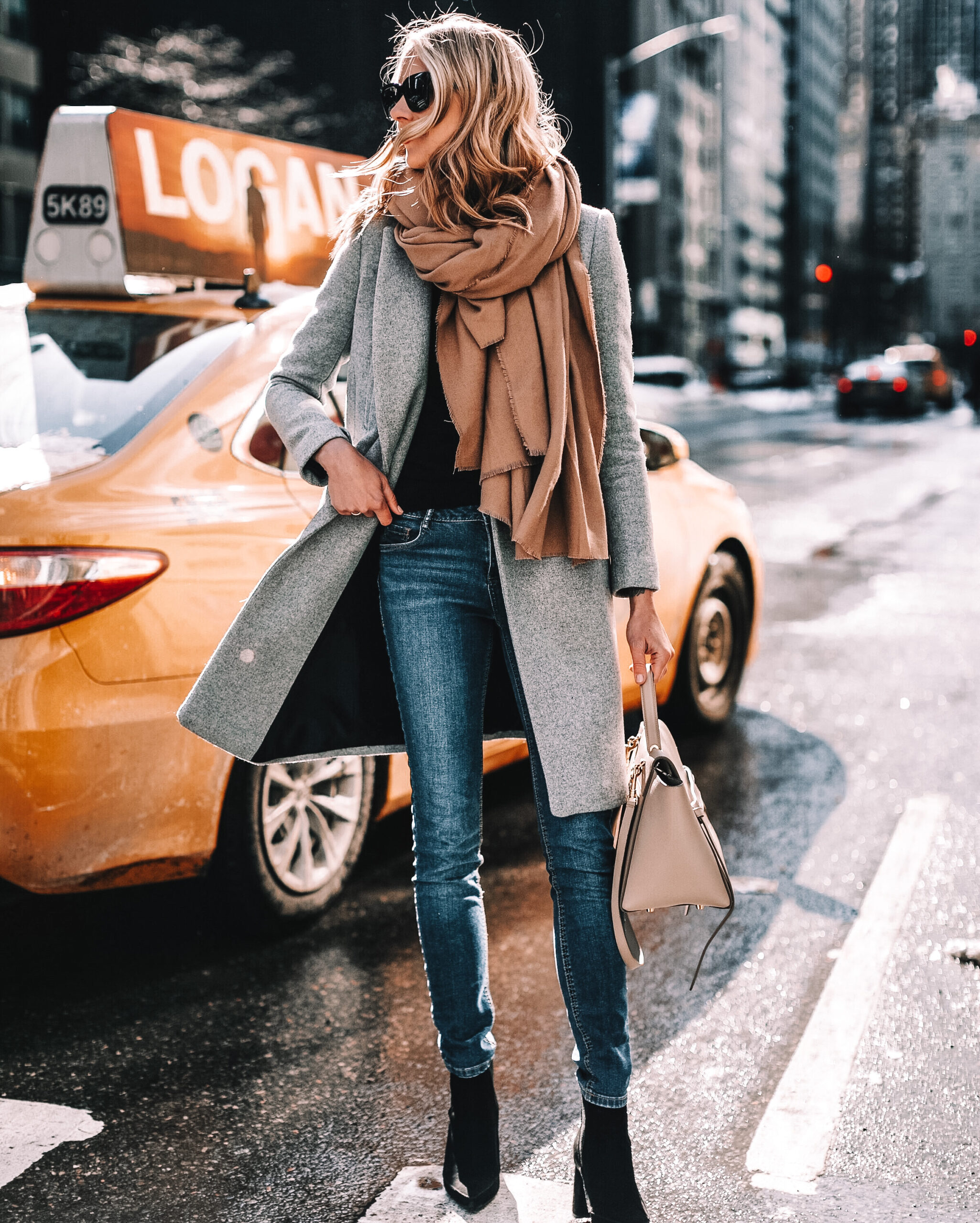 Fashion Jackson Wearing Grey Coat Camel Scarf Black Booties Winter Outfit