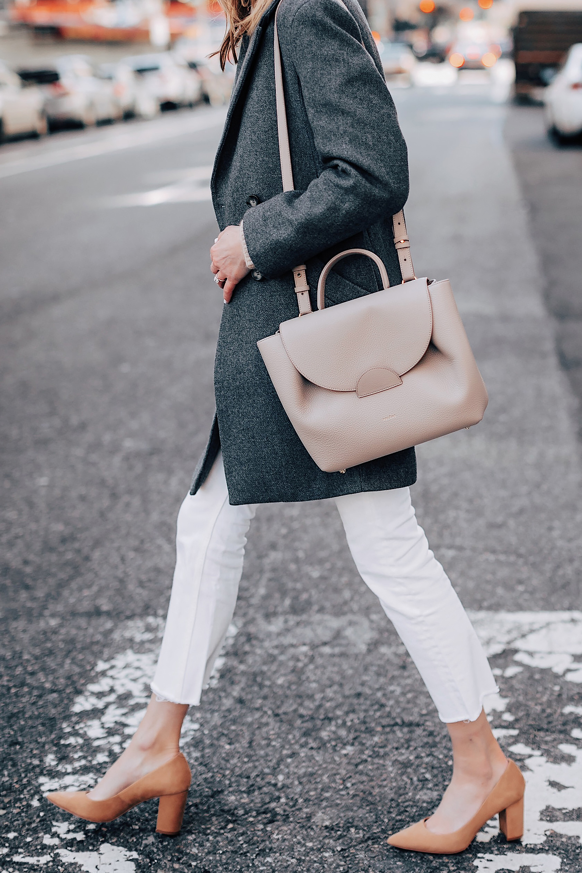 Woman Wearing HM Grey Wool Coat Everlane White Ankle Crop Jeans Tan Pumps Polene Grey Handbag Fashion Jackson Fashion Blogger Street Style NYFW