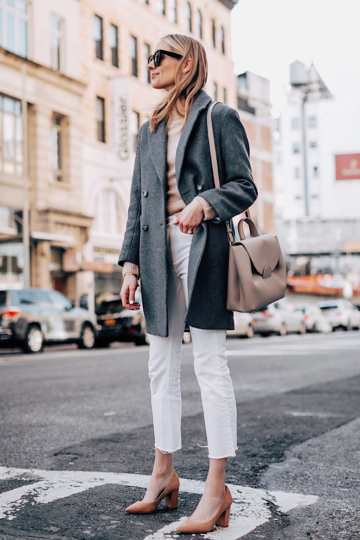 Blonde Woman Wearing HM Grey Wool Coat HM Camel Sweater Everlane White Ankle Crop Jeans Tan Pumps Polene Grey Handbag Fashion Jackson Fashion Blogger Street Style NYFW