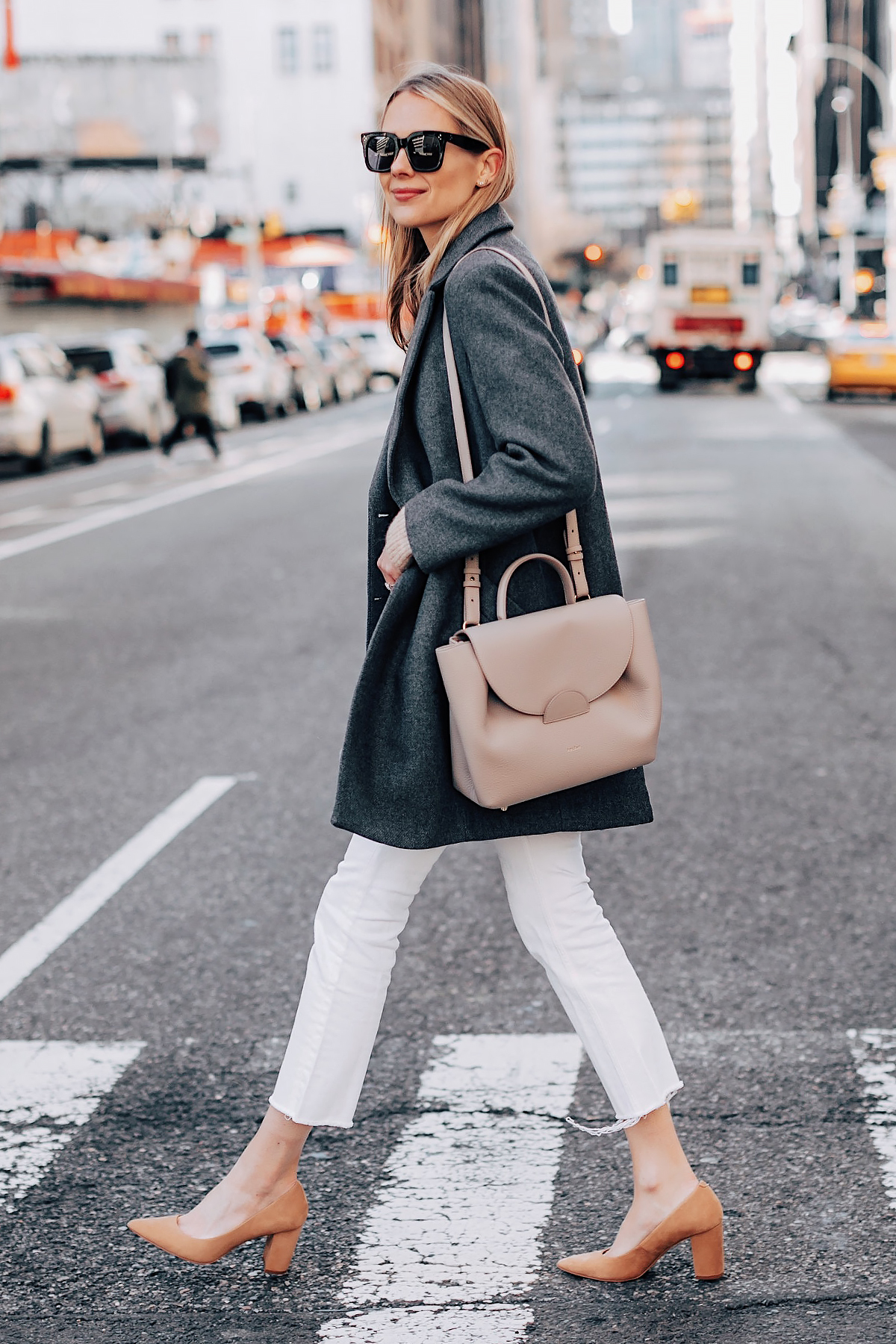 Blonde Woman Wearing HM Grey Wool Coat Polene Grey Handbag Everlane White Crop Ankle Jeans Tan Pumps Fashion Jackson Fashion Blogger Street Style NYFW