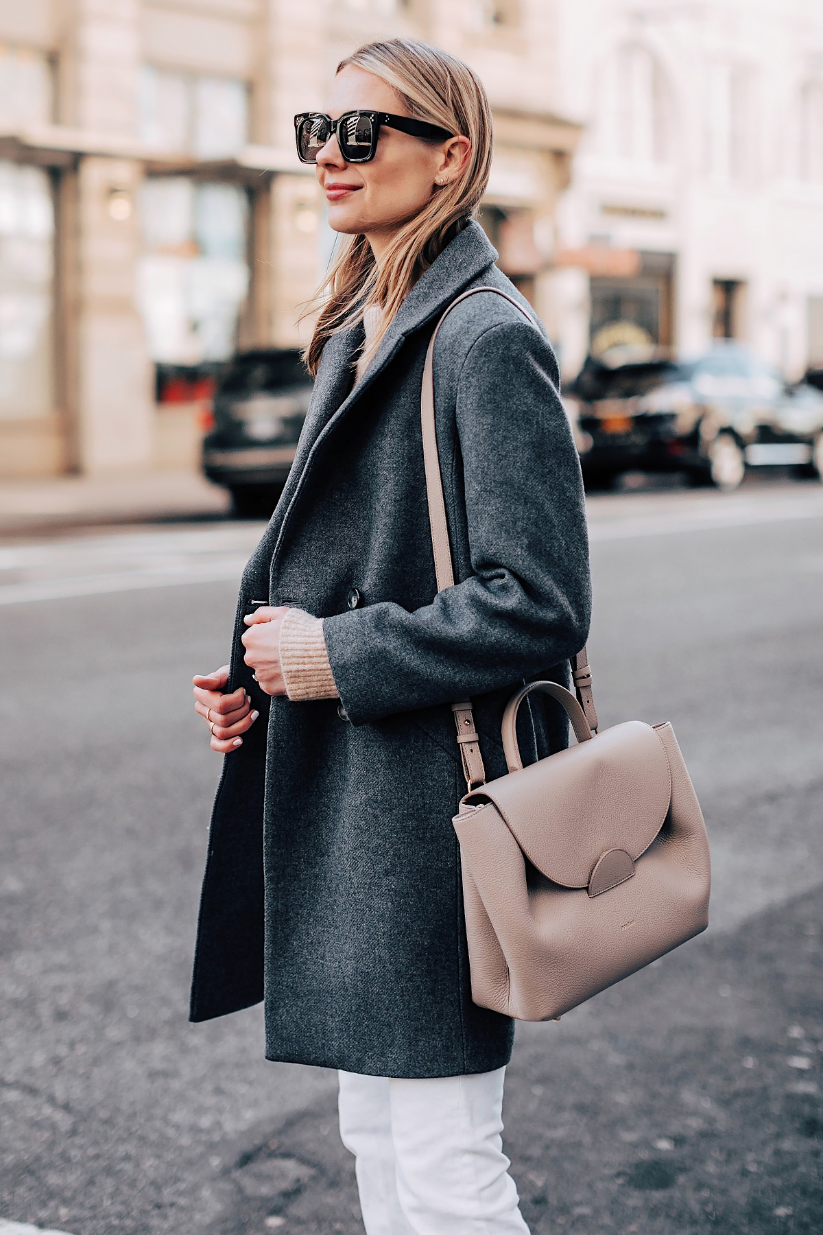 Blonde Woman Wearing HM Grey Wool Coat White Jeans Polene Grey Handbag Fashion Jackson Fashion Blogger Street Style NYFW