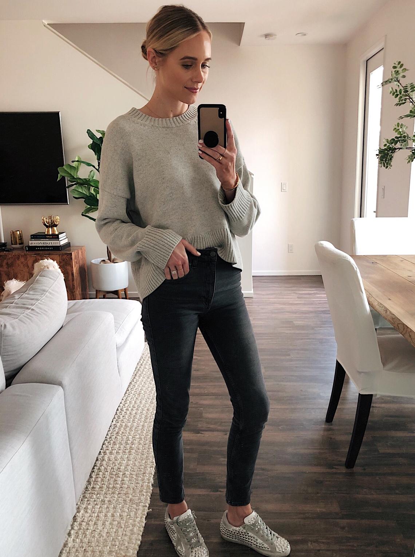 fashion jackson wearing grey everlane sweater grey anine bing jeans golden goose studded sneakers