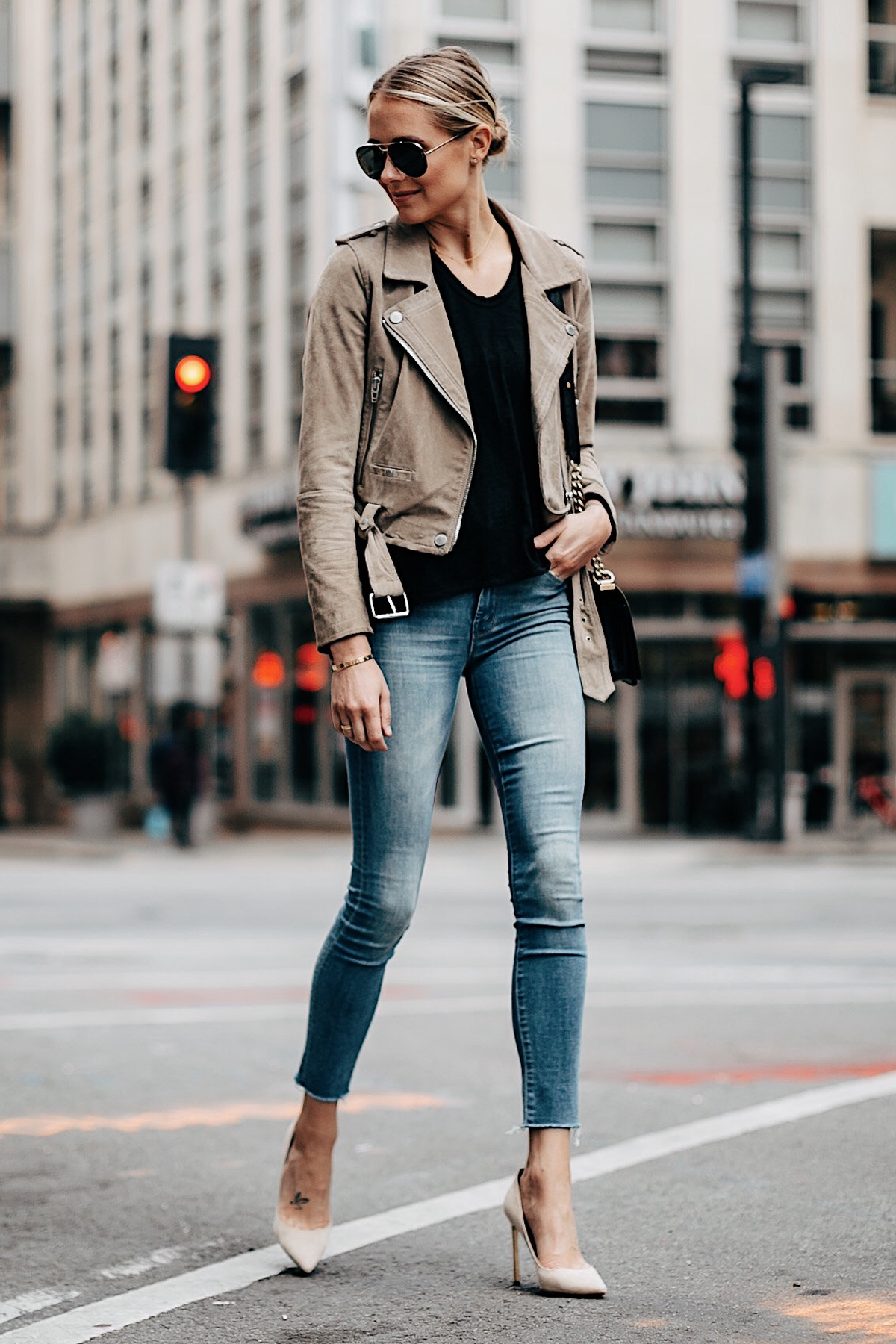 Fashion Jackson Blanknyc Tan Suede Moto Jacket Black Tshirt Mother Denim Jeans Nude Pumps