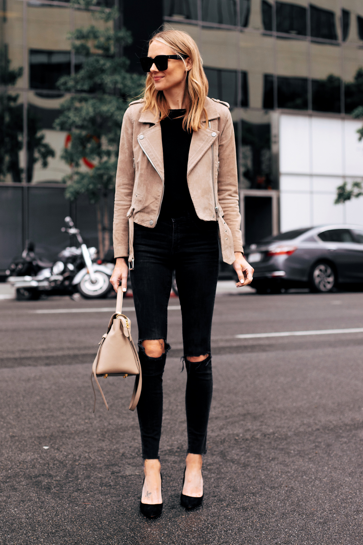 Fashion Jackson Capsule Wardrobe Wearing Blanknyc Tan Suede Moto Jacket Black Sweater Madewell Black Ripped Jeans Black Pumps