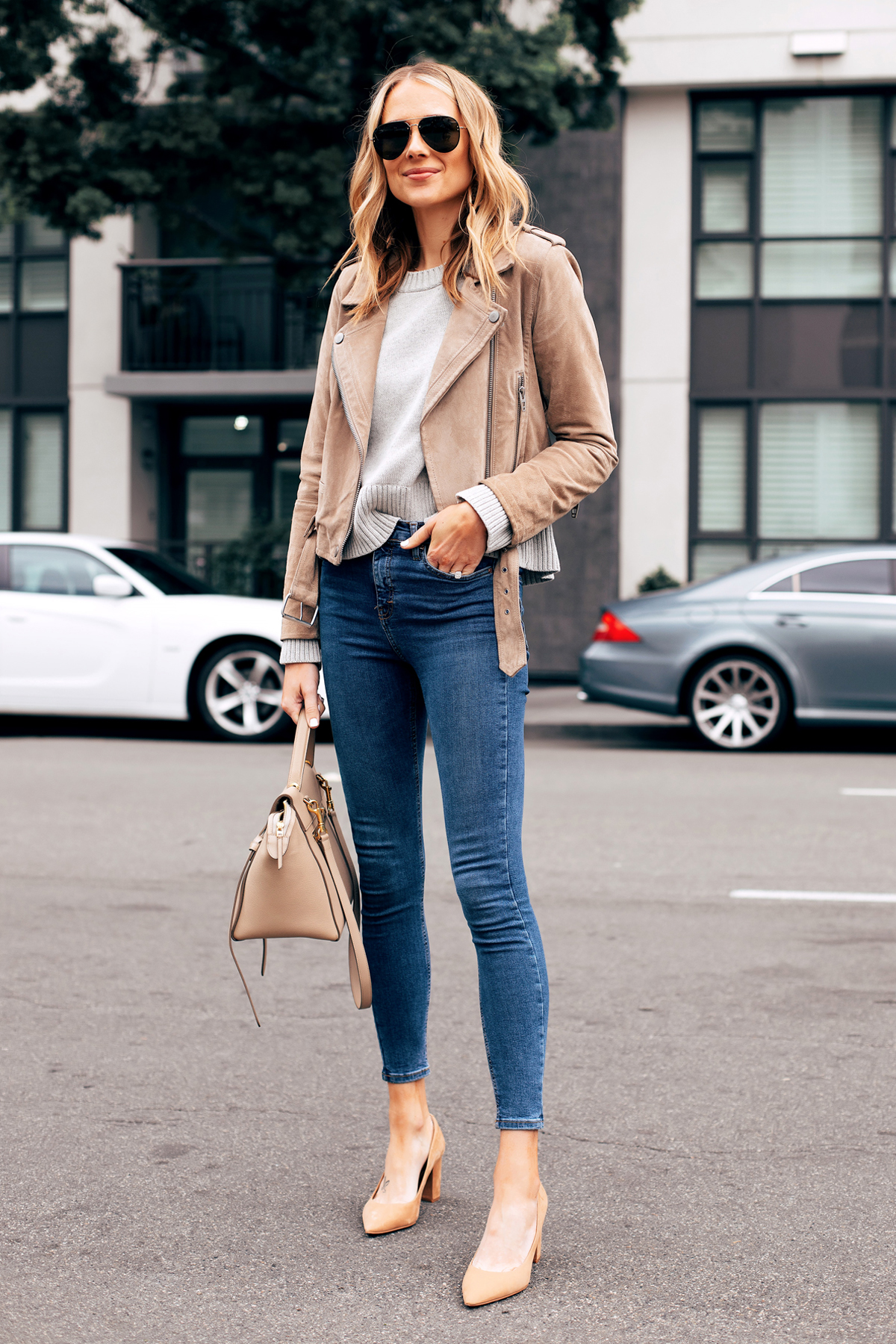 Fashion Jackson Capsule Wardrobe Wearing Blanknyc Tan Suede Moto Jacket Everlane Grey Sweater Topshop Denim Jamie Jeans Tan Pumps