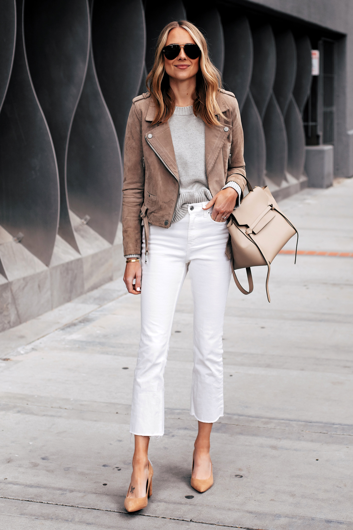 Fashion Jackson Capsule Wardrobe Wearing Blanknyc Tan Suede Moto Jacket Grey Sweater Everlane White Cropped Jeans Tan Pumps Celine Mini Belt Bag