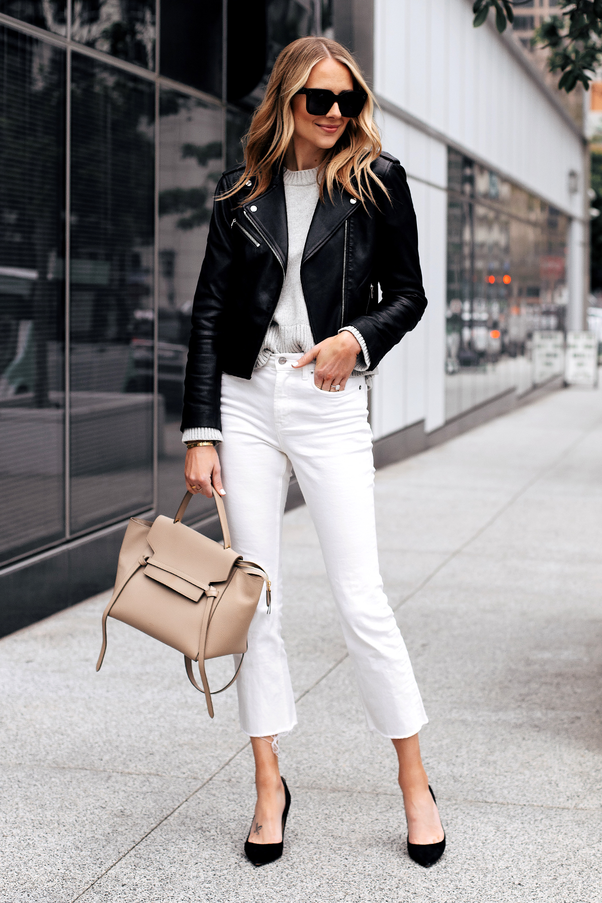 Fashion Jackson Capsule Wardrobe Wearing Club Monaco Black Leather Jacket Grey Sweater Everlane White Crop Jeans Black Pumps Celine Mini Belt Bag