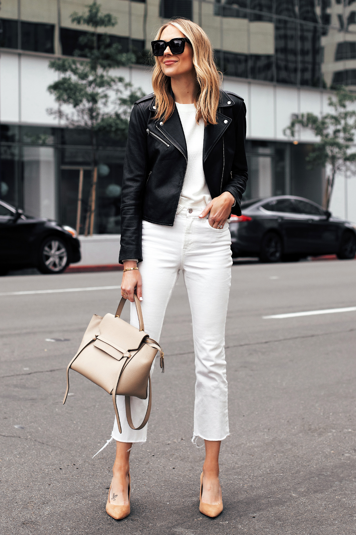 Fashion Jackson Capsule Wardrobe Wearing Club Monaco Black Leather Jacket White Sweater Everlane White Cropped Jeans Tan Pumps Celine Mini Belt Bag