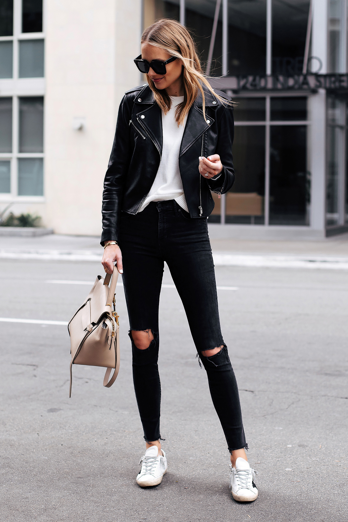 Fashion Jackson Capsule Wardrobe Wearing Club Monaco Black Leather Jacket White Sweater Madewell Black Ripped Skinny Jeans Golden Goose Sneakers