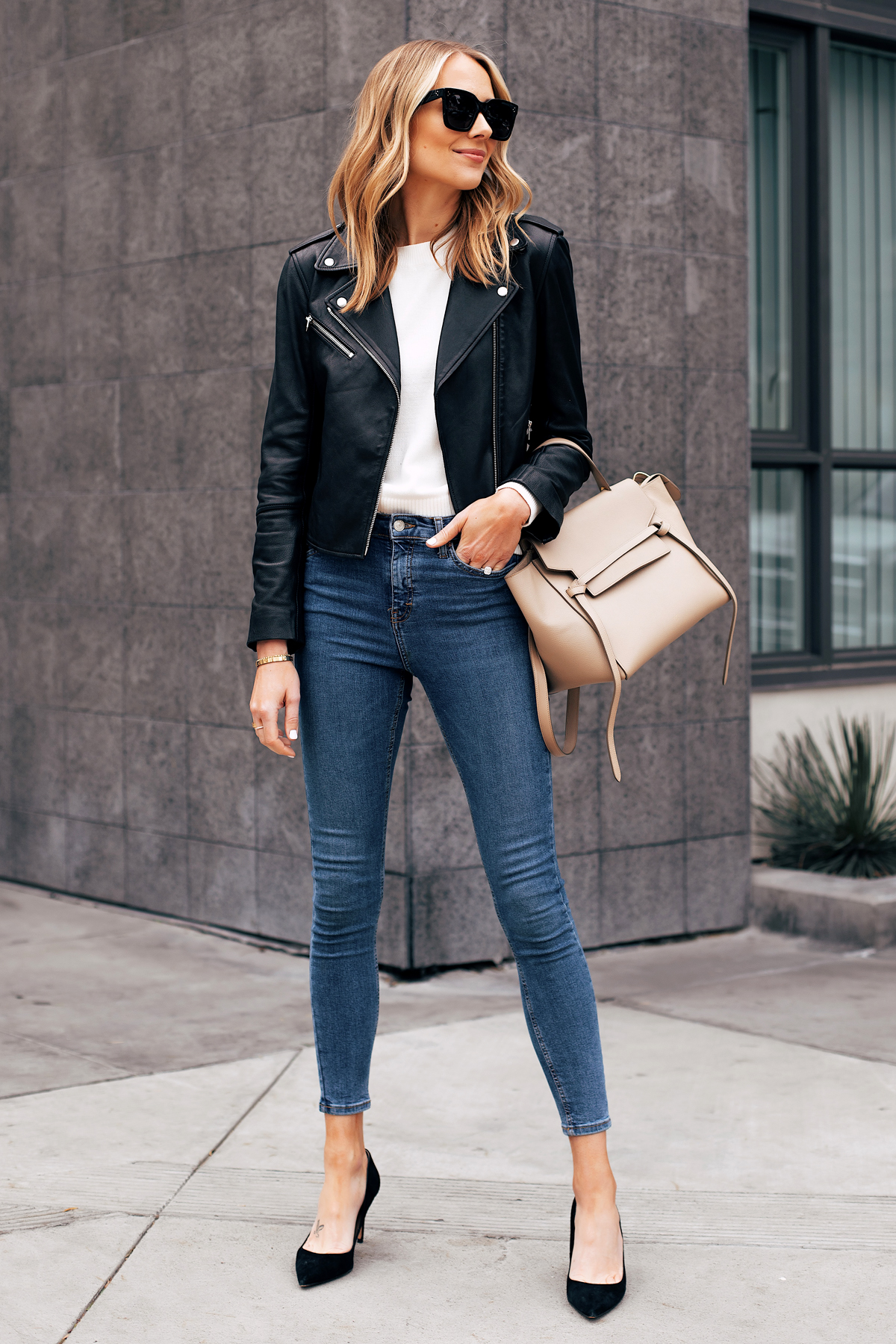 Fashion Jackson Capsule Wardrobe Wearing Club Monaco Black Leather Jacket White Sweater Topshop Denim Jamie Jeans Black Pumps Celine Mini Belt Bag