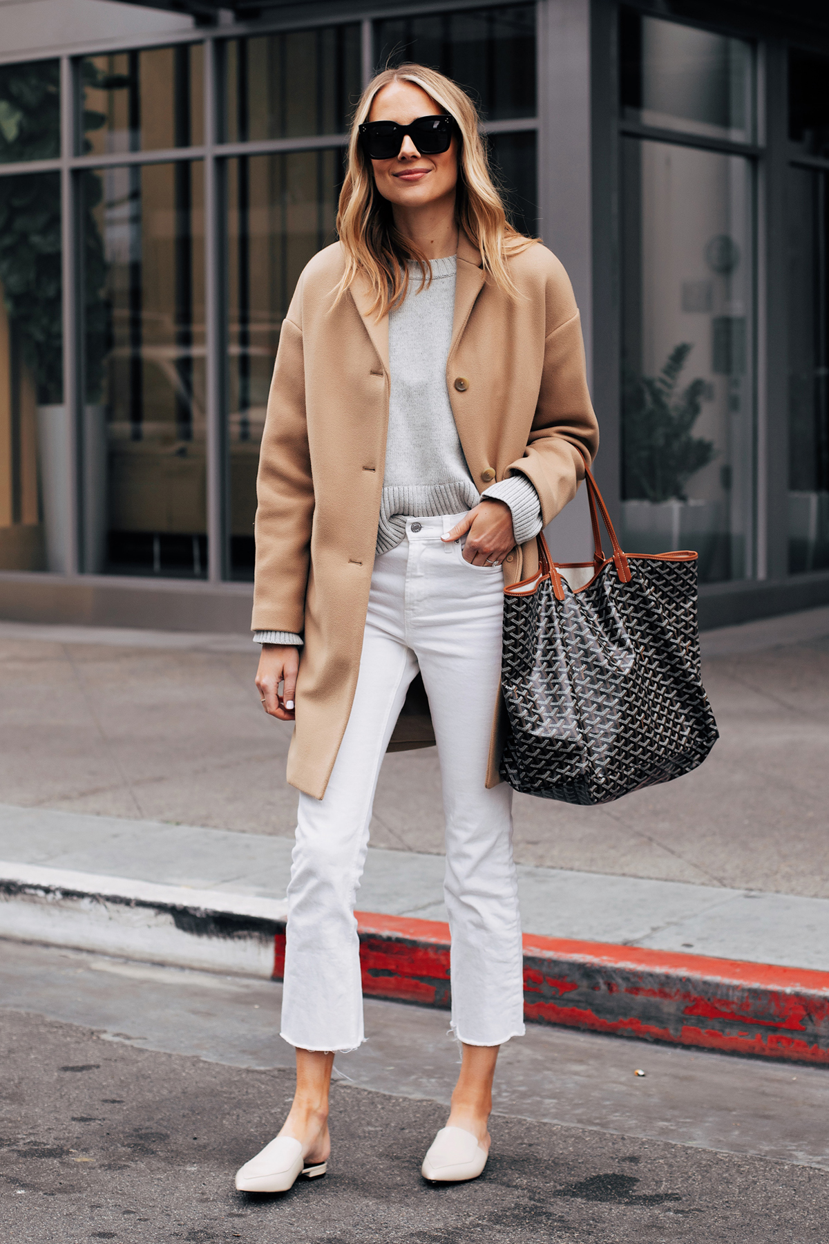 Fashion Jackson Capsule Wardrobe Wearing Everlane Camel Coat Everlane Grey Sweater Everlane White Crop Jeans Everlane White Mules Goyard Tote