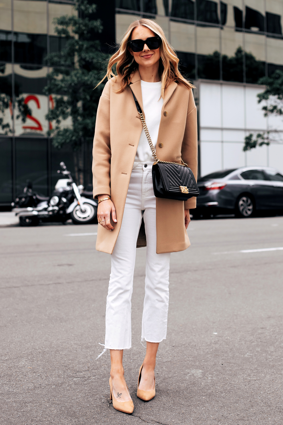 Fashion Jackson Capsule Wardrobe Wearing Everlane Camel Coat Everlane White Sweater Everlane White Crop Jeans Tan Pumps Black Chanel Boy Bag