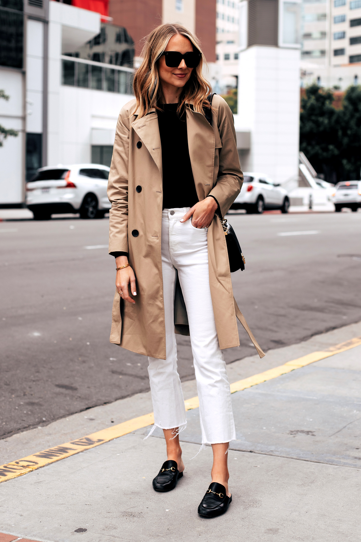 Fashion Jackson Capsule Wardrobe Wearing Everlane Trench Coat Black Sweater Everlane White Crop Jeans Black Gucci Mules