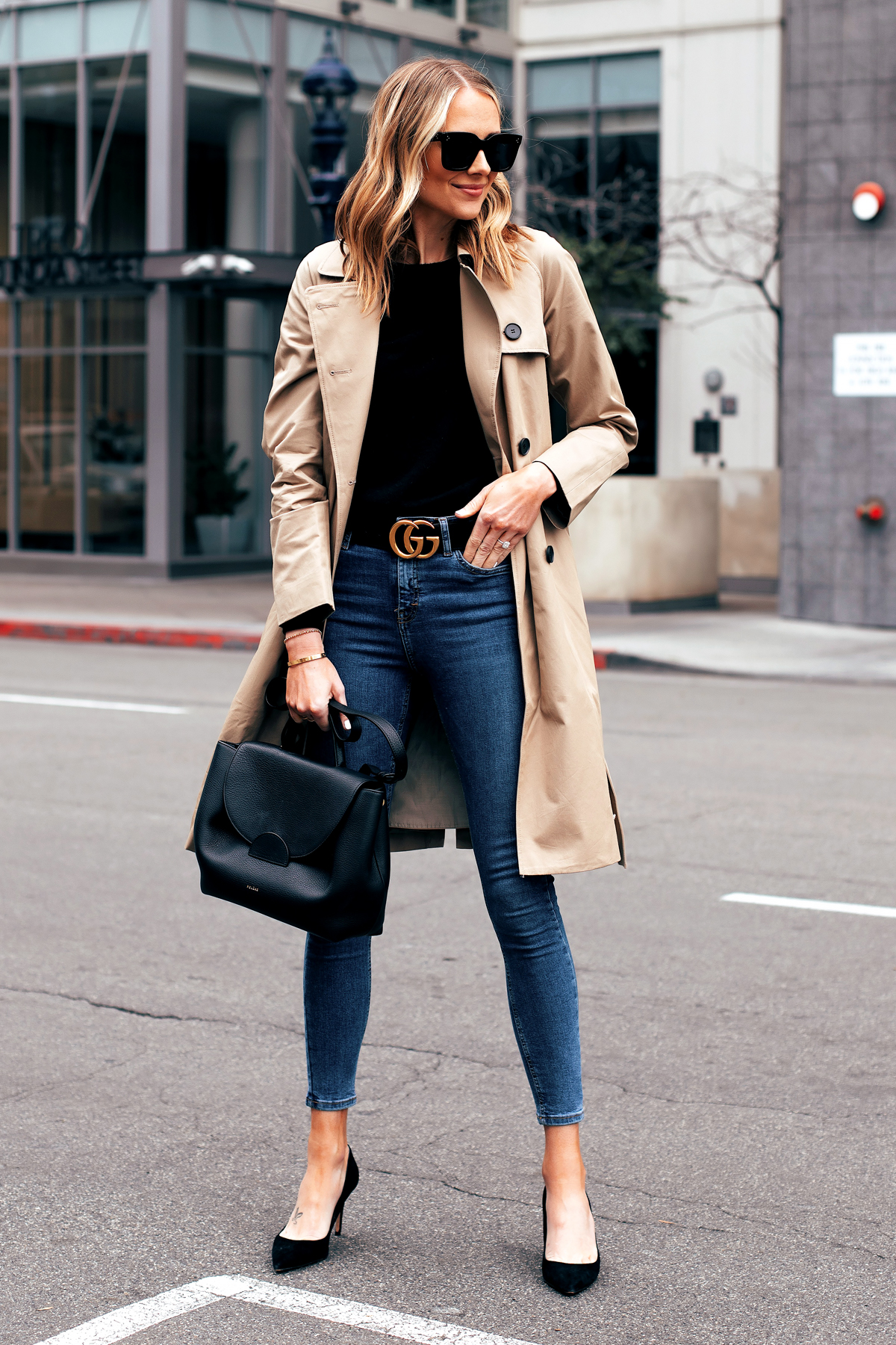 Fashion Jackson Capsule Wardrobe Wearing Everlane Trench Coat Black Sweater Topshop Denim Jamie Jeans Gucci Belt Black Pumps Polene Black Handbag