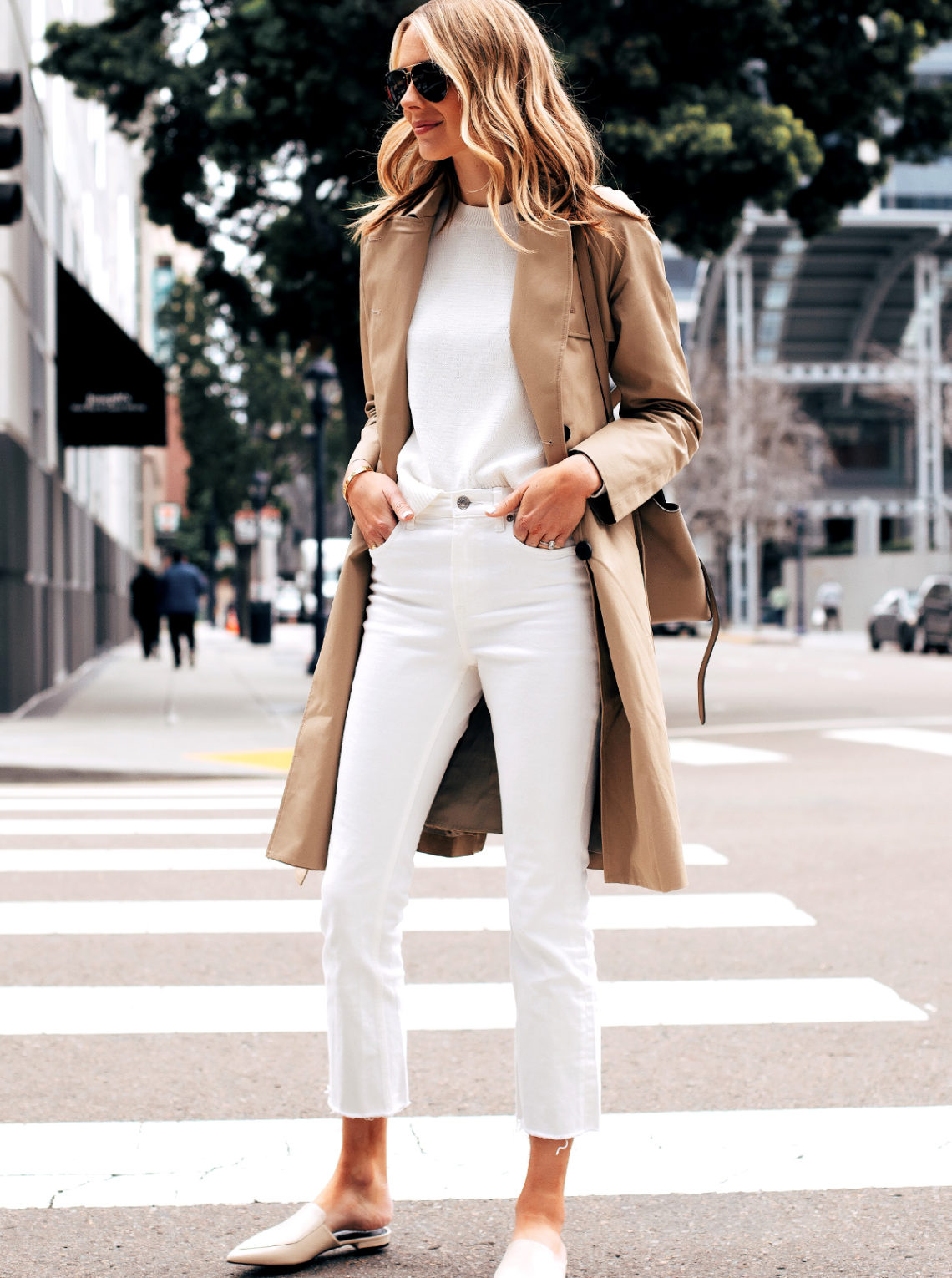 Fashion Jackson Capsule Wardrobe Wearing Everlane Trench Coat White Sweater Everlane White Crop Jeans Everlane White Mules