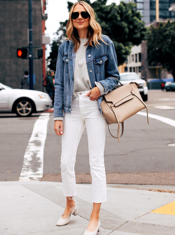 Fashion Jackson Capsule Wardrobe Wearing Topshop Oversized Denim Jacket Grey Sweater Everlane White Cropped Jeans Everlane Day Heel Celine Mini Belt Bag