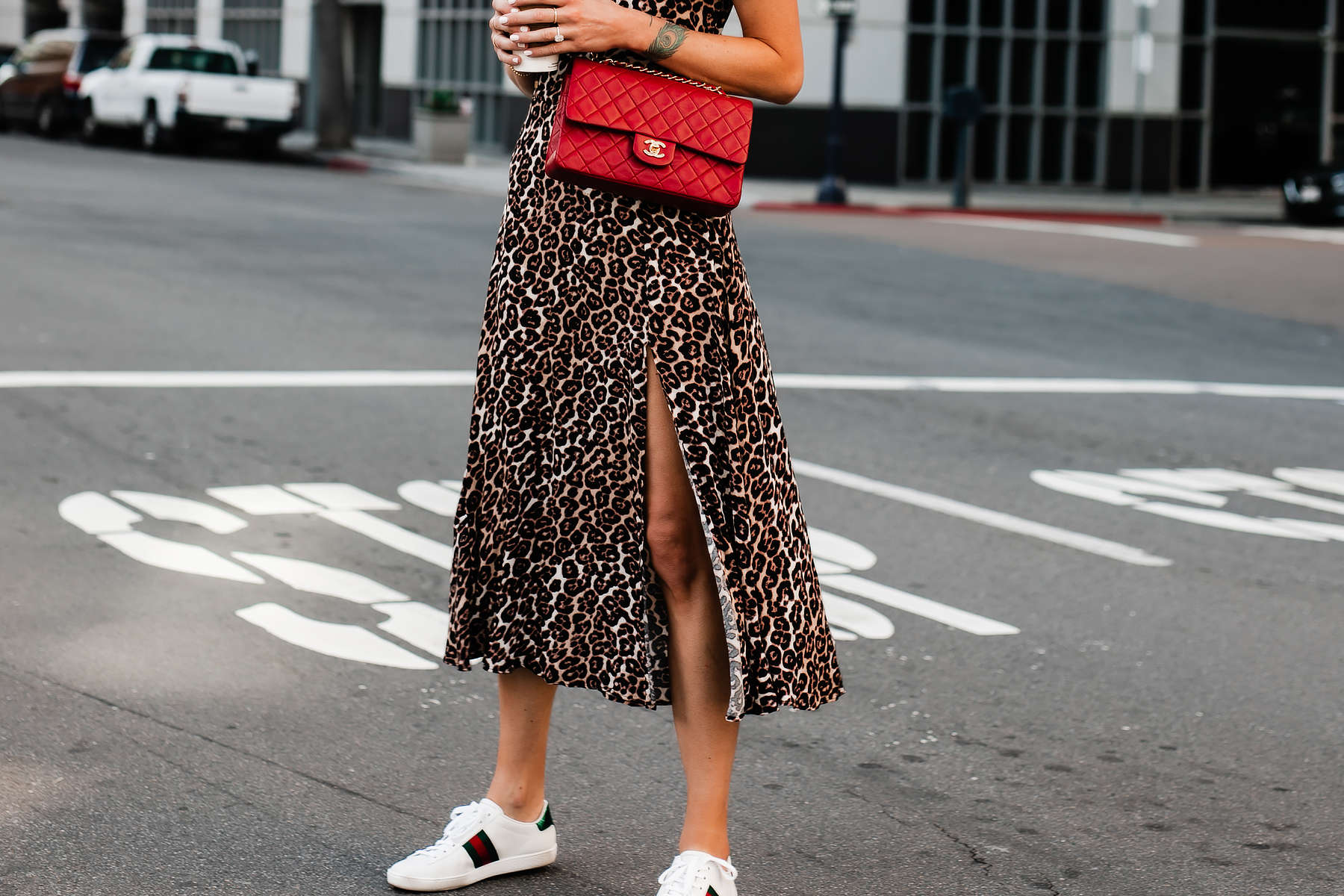 Woman Wearing Red Chanel Handbag Leopard Maxi Dress Gucci Ace Embroidered Sneakers Fashion Jackson San Diego Fashion Blogger Street Style