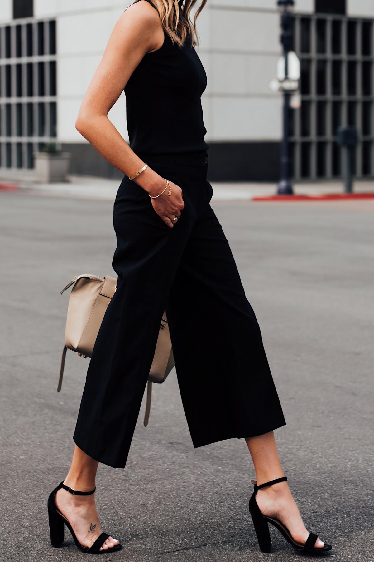 Woman Wearing Ann Taylor Black Sweater Tank Ann Taylor Black Wide Leg Cropped Pants Black Heeled Sandals Fashion Jackson San Diego Fashion Blogger Street Style