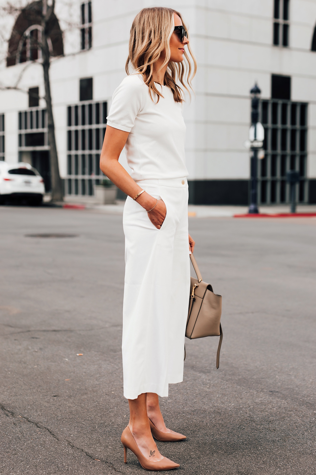 Blonde Woman Wearing Ann Taylor White Short Sleeve Sweater Ann Taylor White Wide Leg Cropped Pants Nude Pumps Fashion Jackson San Diego Fashion Blogger Street Style