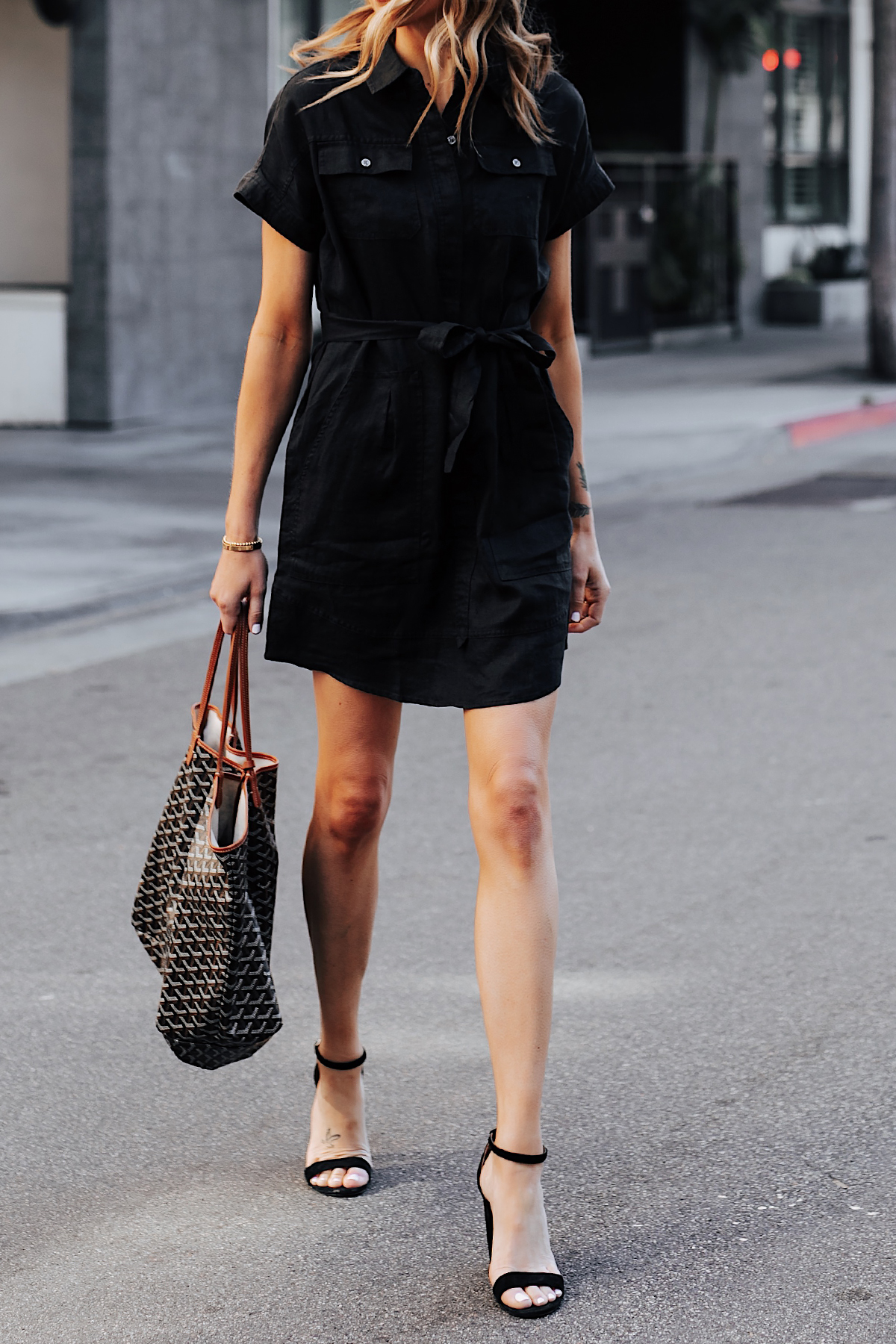 Woman Wearing Black Short Sleeve Shirt Dress Black Heeled Sandals Goyard Tote Fashion Jackson San Diego Fashion Blogger Street Style