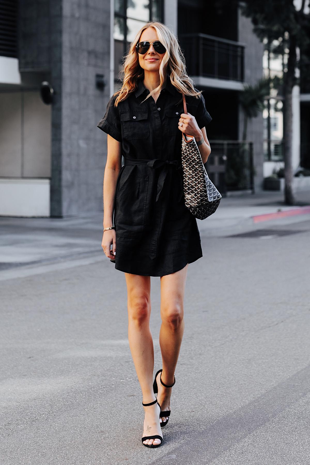 Blonde Woman Wearing Black Short Sleeve Shirt Dress Black Heeled Sandals Goyard Tote Fashion Jackson San Diego Fashion Blogger Street Style