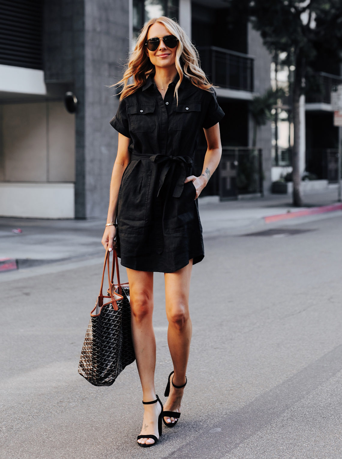 Fashion Jackson Wearing Black Short Sleeve Shirt Dress Featured Image
