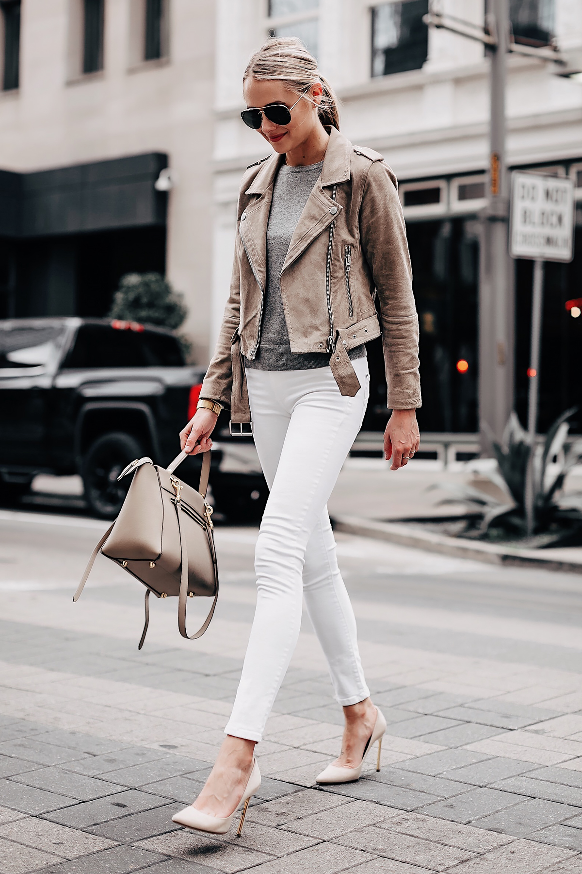 Fashion Jackson Wearing Blanknyc Tan Sude Moto Jacket Grey Sweater White Skinny Jeans Nude Pumps