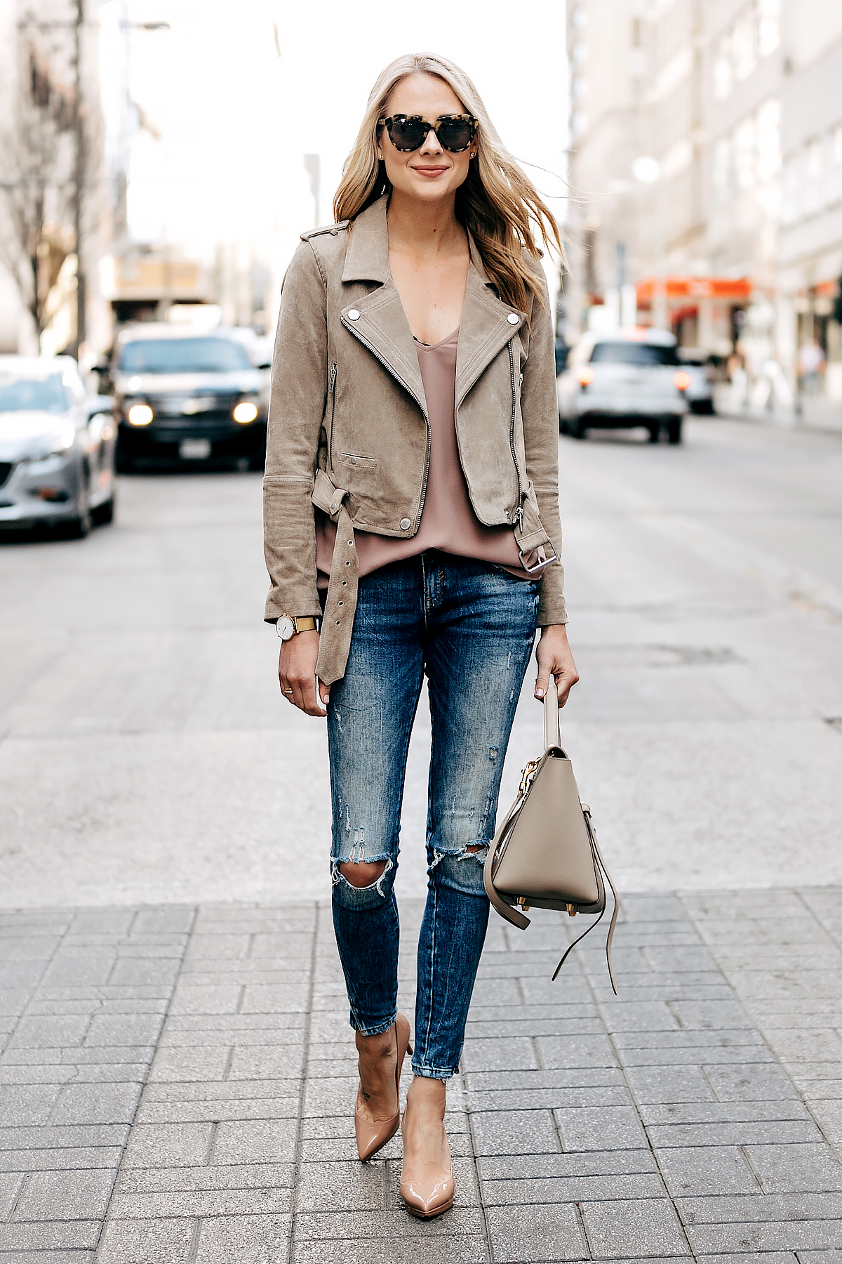 Fashion Jackson Wearing Blanknyc Tan Suede Moto Jacket Blush Cami Denim Ripped Skinny Jeans Nude Pumps