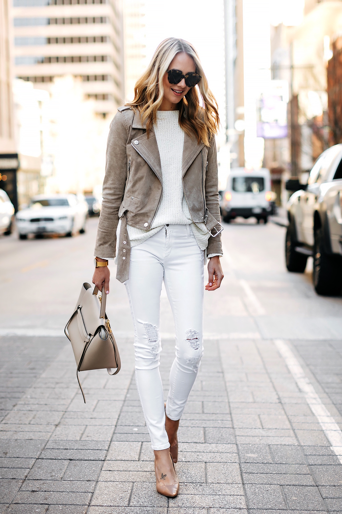 Fashion Jackson Wearing Blanknyc Tan Suede Moto Jacket White Sweater White Ripped Skinny Jeans Nude Pumps Celine Mini Belt Bag