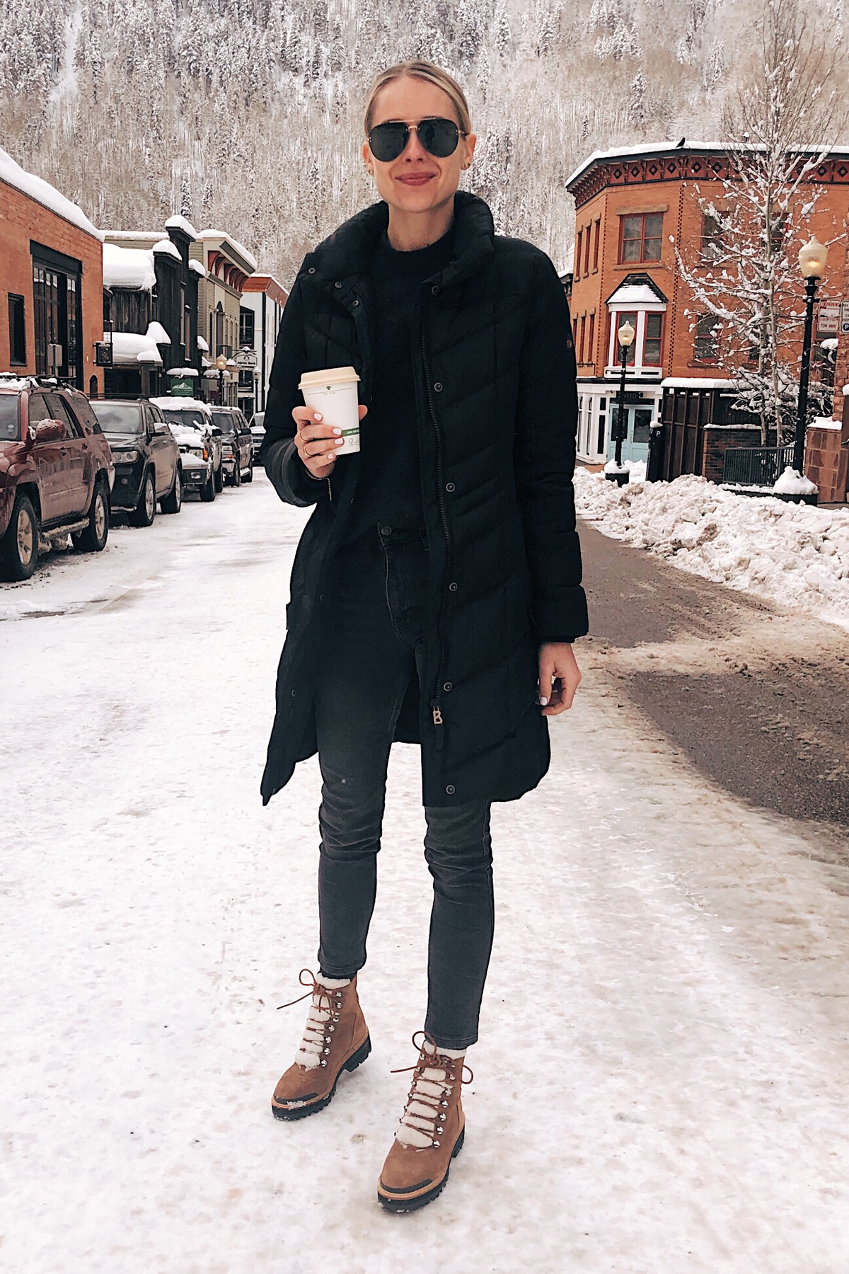 Fashion-Jackson-Wearing-Bogner-Black-Puffer-Jacket-Grey-Skinny-Jeans-Marc-Fisher-Winter-Boots