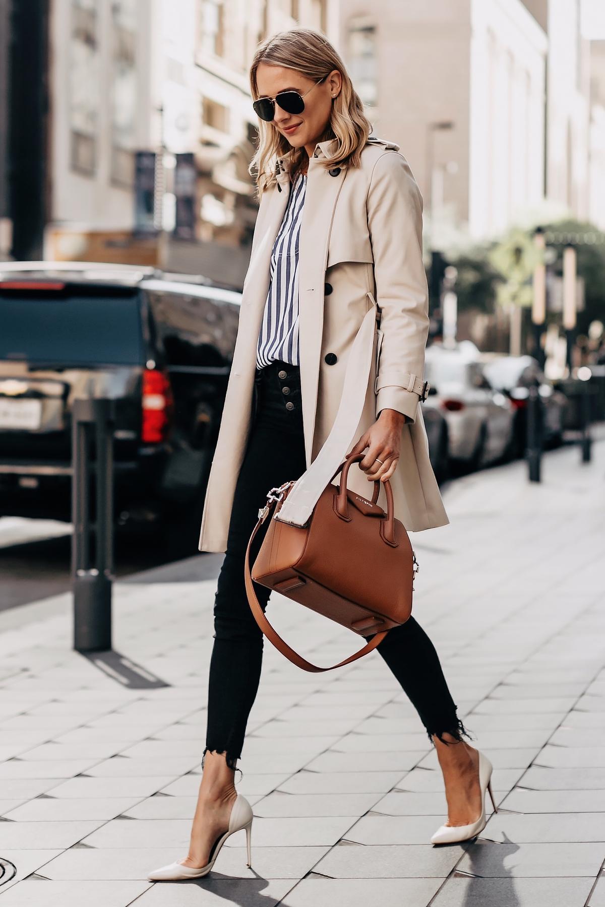 Fashion Jackson Wearing Club Monaco Trench Coat Blue White Stripe Top Black Ripped Skinny Jeans White Pumps Givenchy Antigona Cognac Handbag