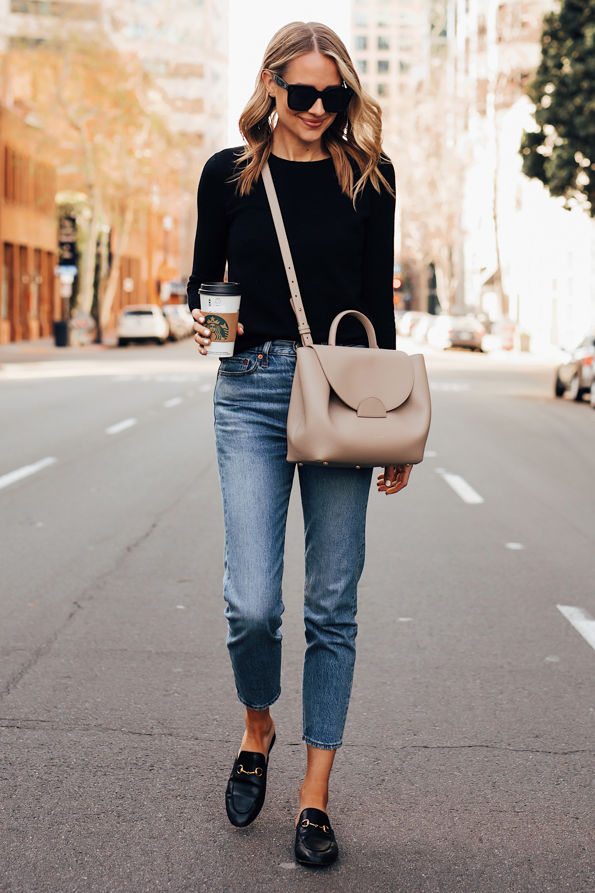 Blonde Woman Wearing Everlane Black Cashmere Sweater Levis 501 Jeans Gucci Princetown Mules Black Polene Numero Un Handbag Grey Fashion Jackson San Diego Fashion Blogger Street Style