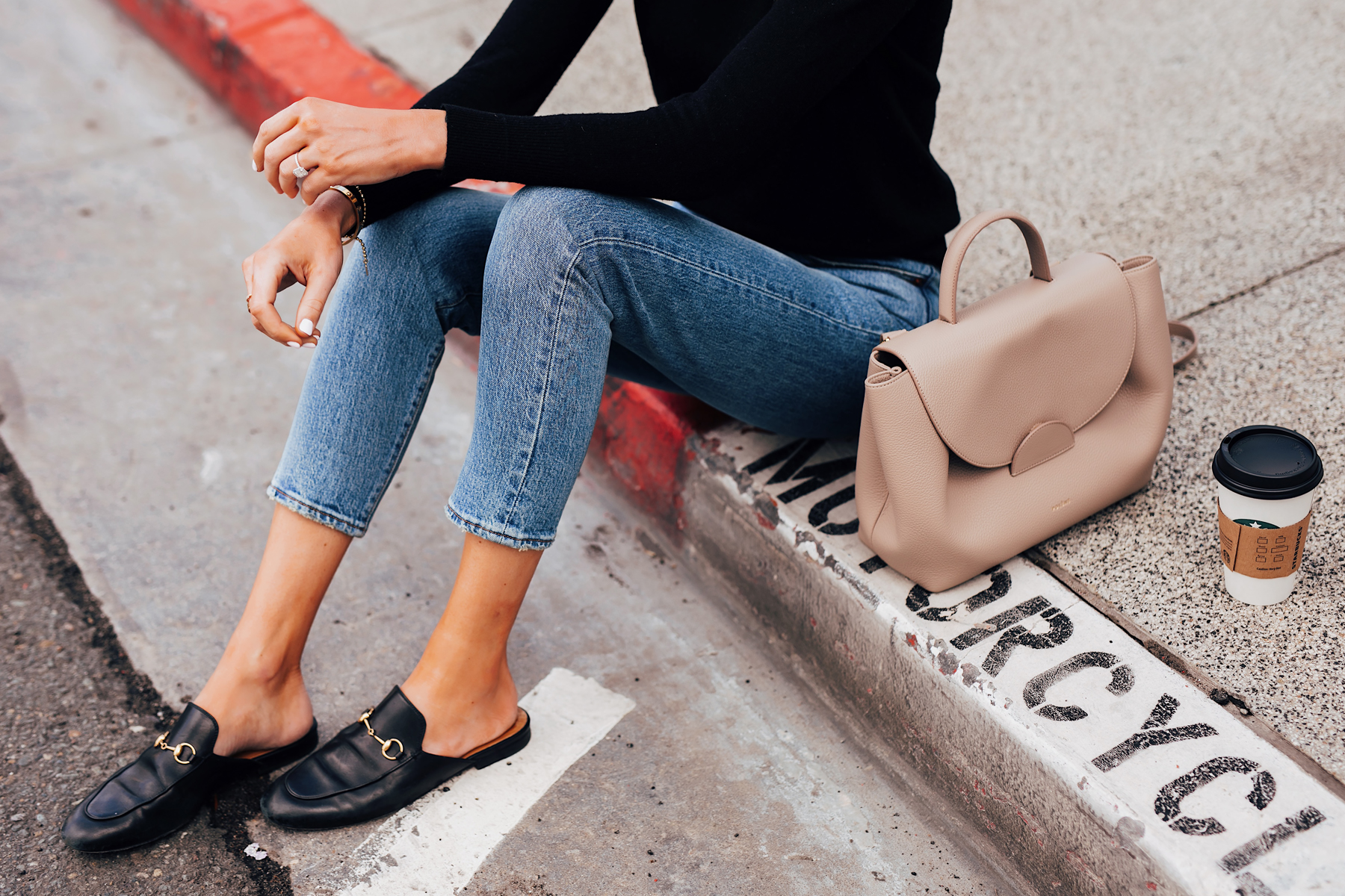 Woman Wearing Everlane Black Cashmere Sweater Levis 501 Jeans Gucci Princetown Mules Black Polene Numero Un Handbag Grey Fashion Jackson San Diego Fashion Blogger Street Style