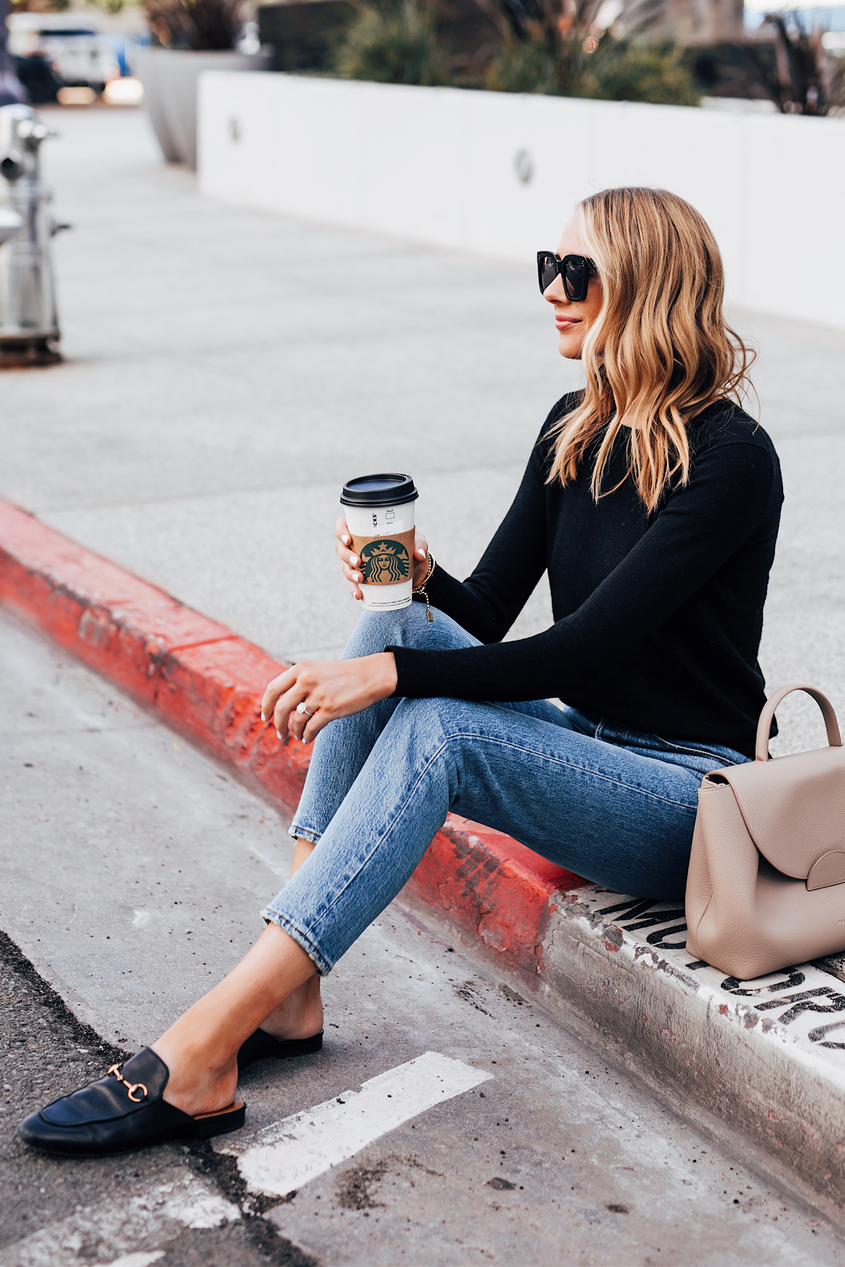 Blonde Woman Wearing Everlane Black Cashmere Sweater Levis 501 Jeans Gucci Princetown Mules Black Fashion Jackson San Diego Fashion Blogger Street Style
